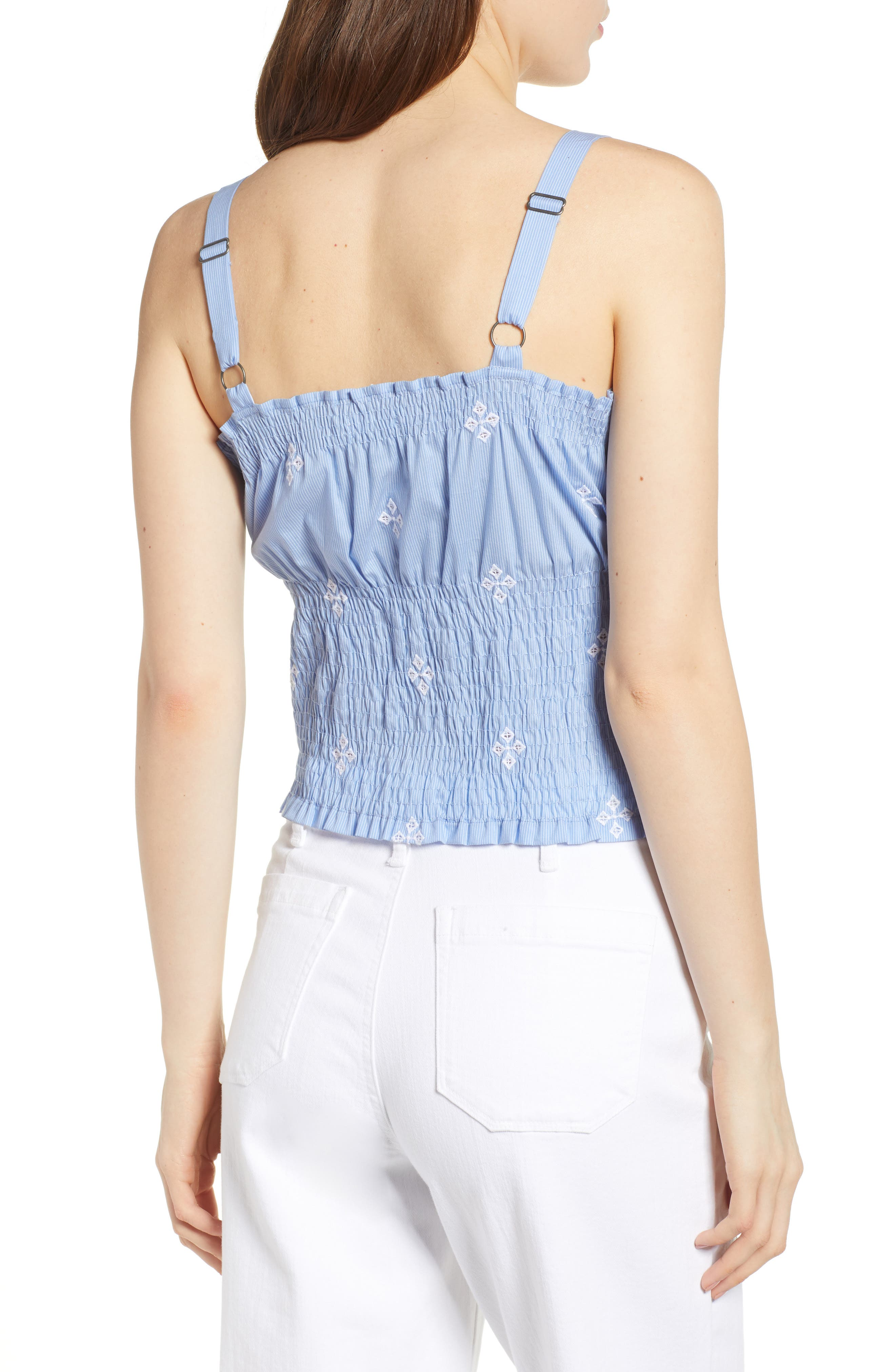 Smocked Pinstripe Top,                             Alternate thumbnail 2, color,                             Blue- White Fizzle Stripe