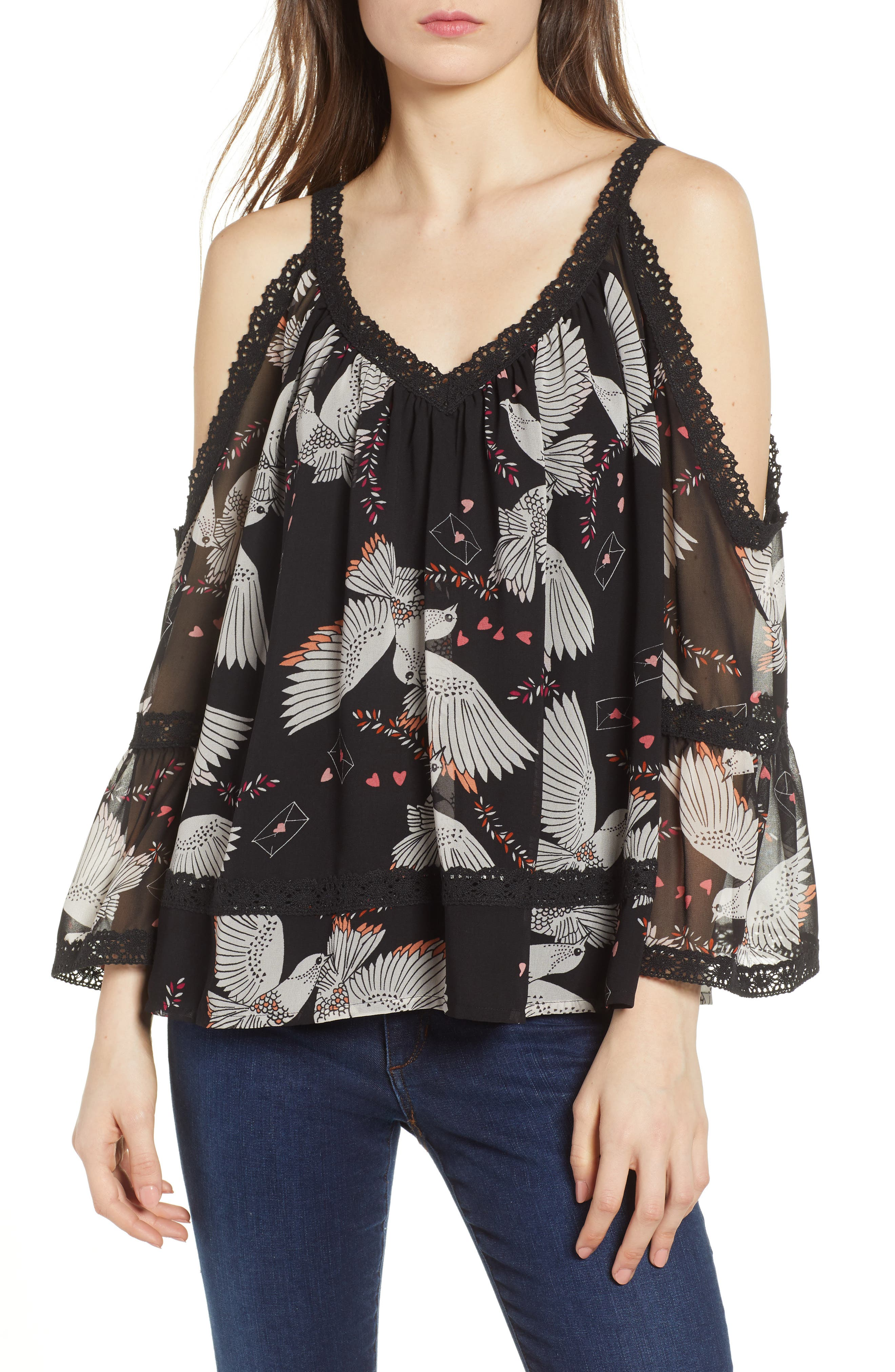 Deneuve Cold Shoulder Top,                             Main thumbnail 1, color,                             Black Multi
