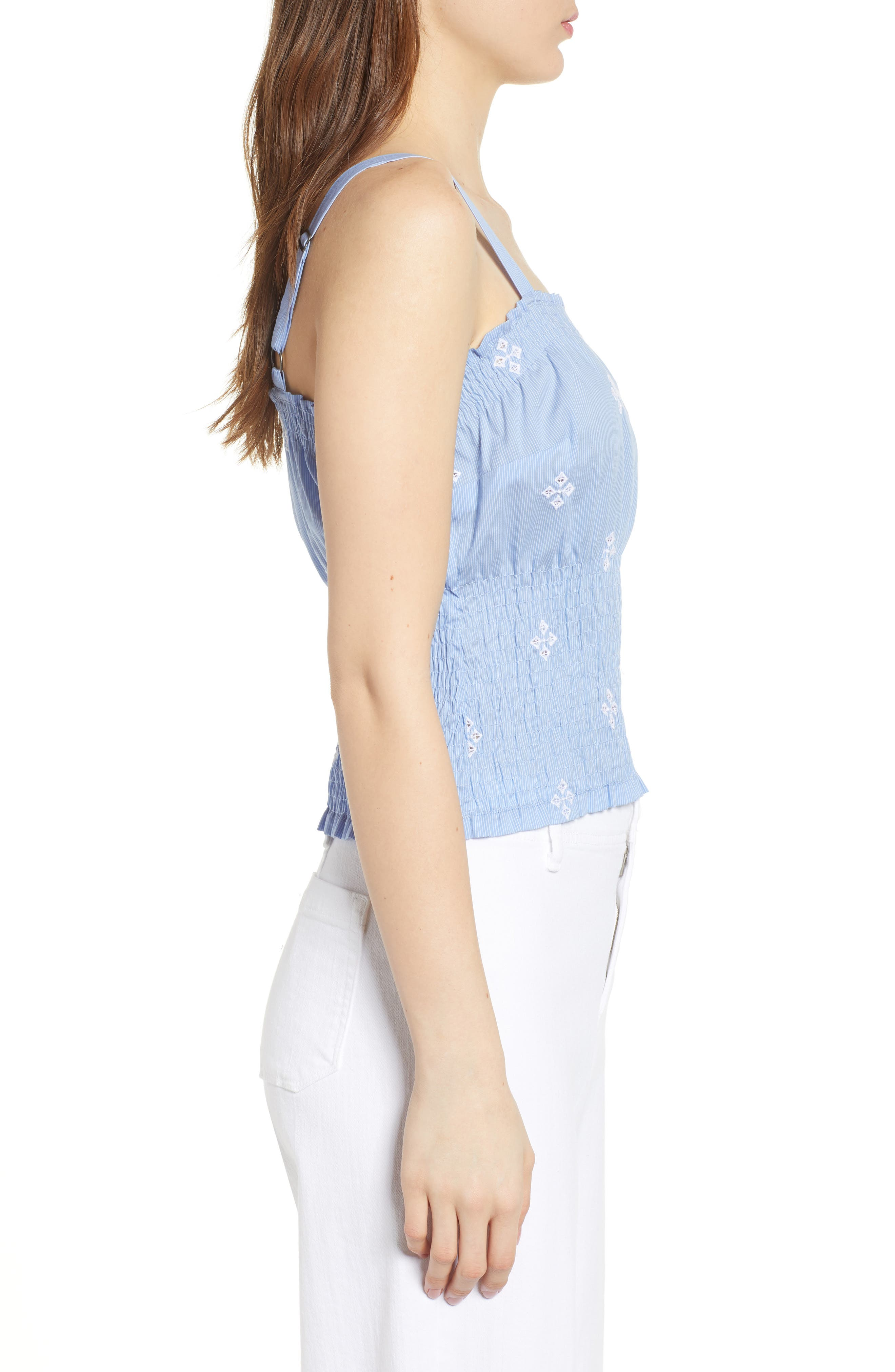 Smocked Pinstripe Top,                             Alternate thumbnail 3, color,                             Blue- White Fizzle Stripe