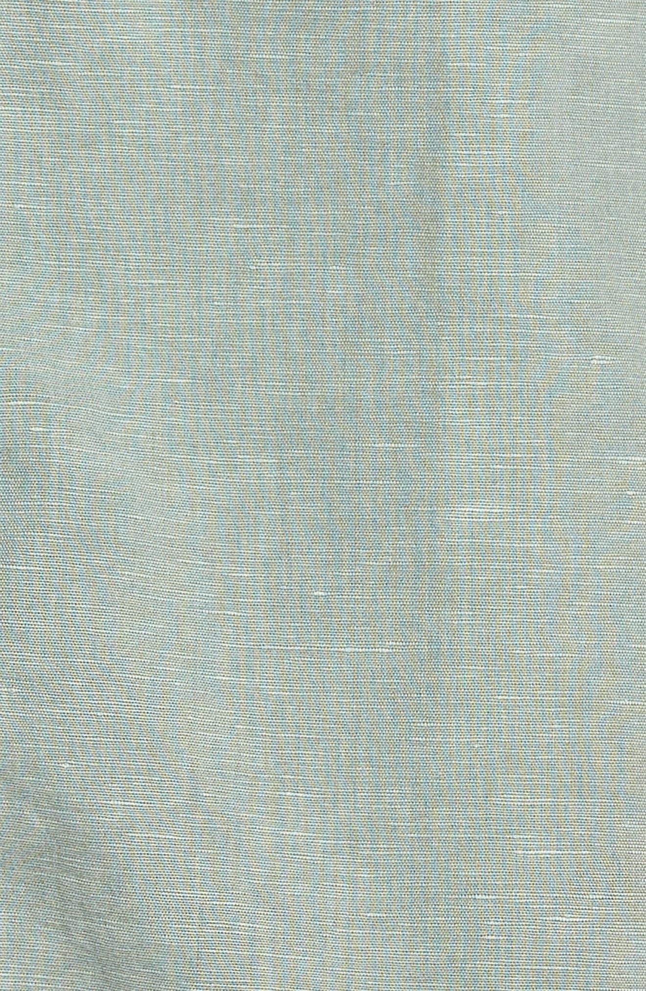 Linen Cotton Shirtdress,                             Alternate thumbnail 5, color,                             Green Lilypad