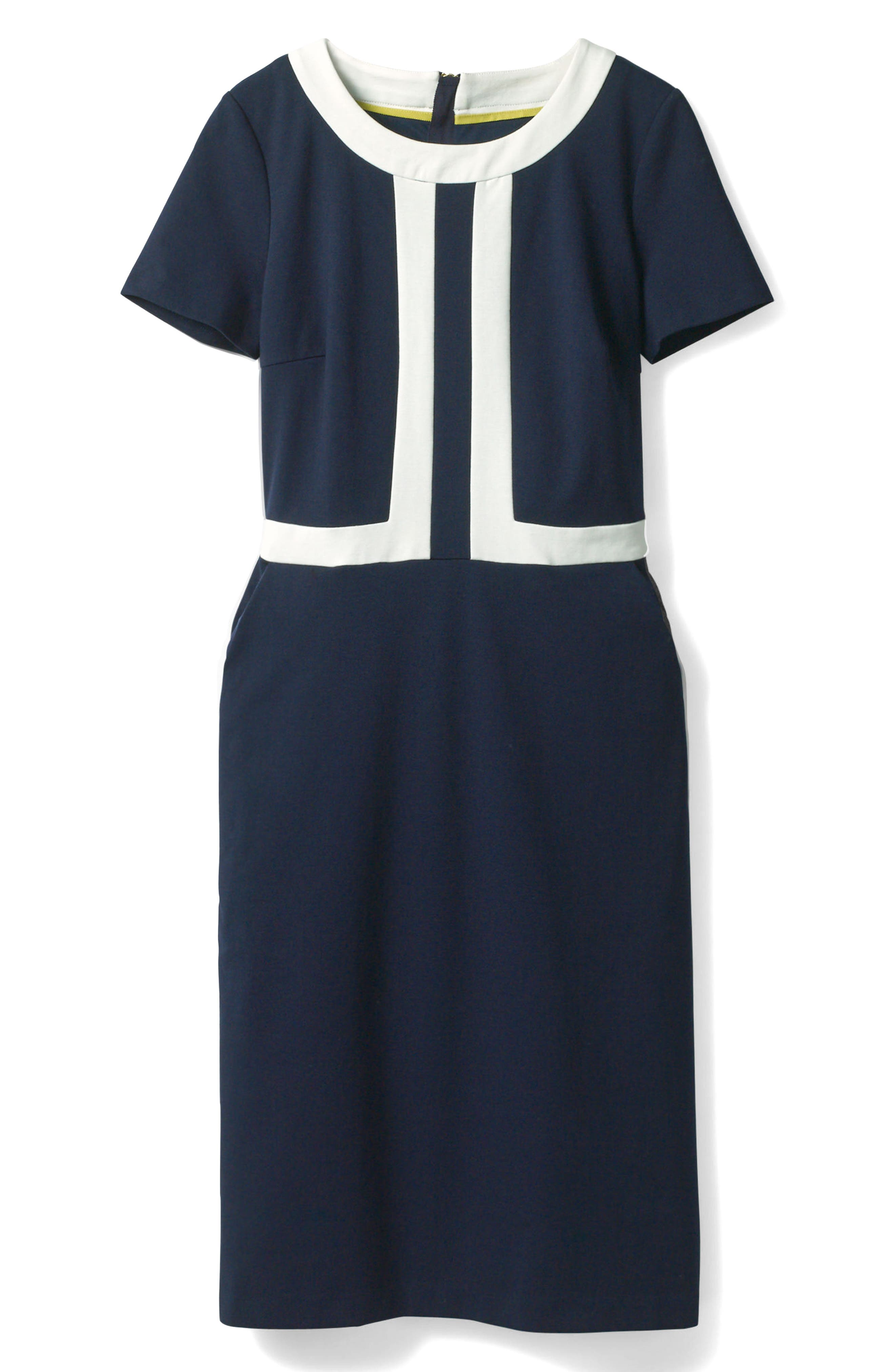 Colorblock A-Line Dress,                             Alternate thumbnail 6, color,                             Navy/ Ivory