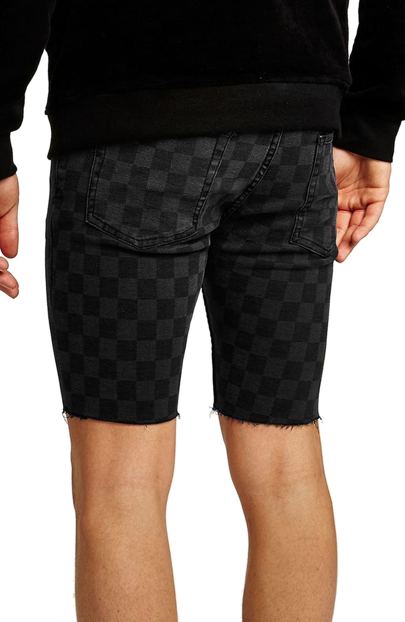 Stretch Skinny Fit Check Denim Shorts,                             Alternate thumbnail 2, color,                             Black