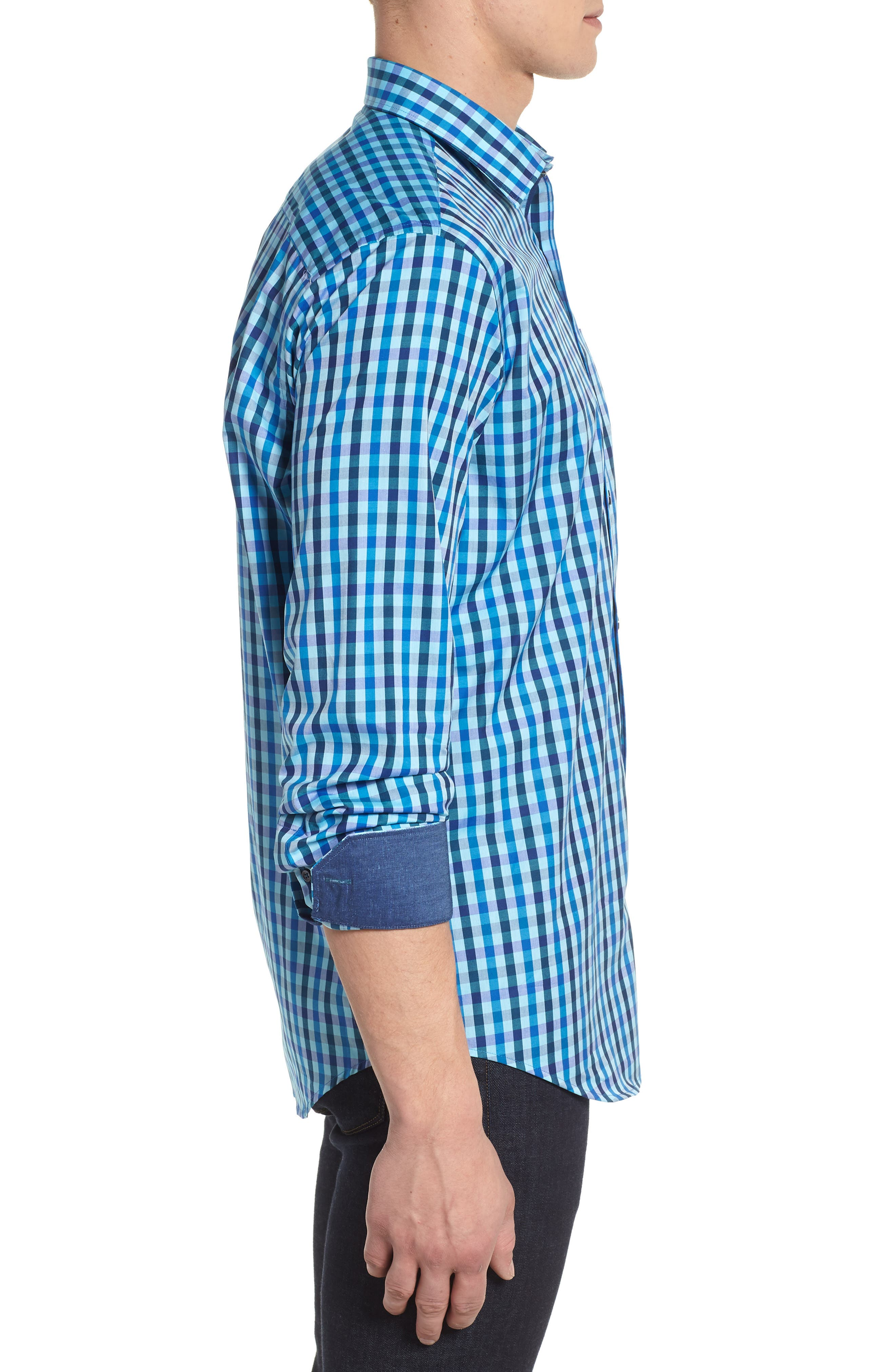Classic Fit Woven Sport Shirt,                             Alternate thumbnail 3, color,                             Turquoise