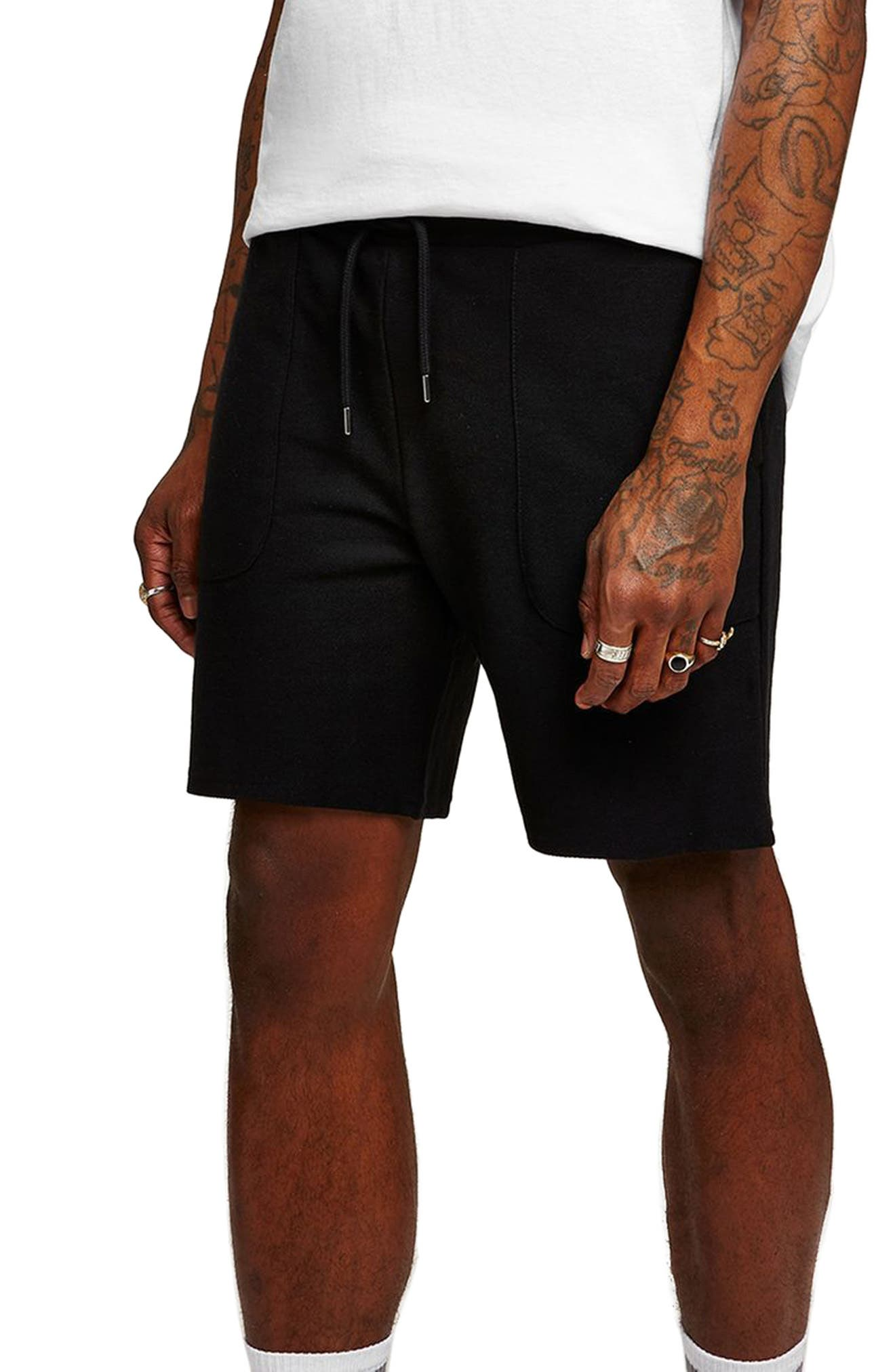 Slim Fit Twill Jersey Shorts,                         Main,                         color, Black