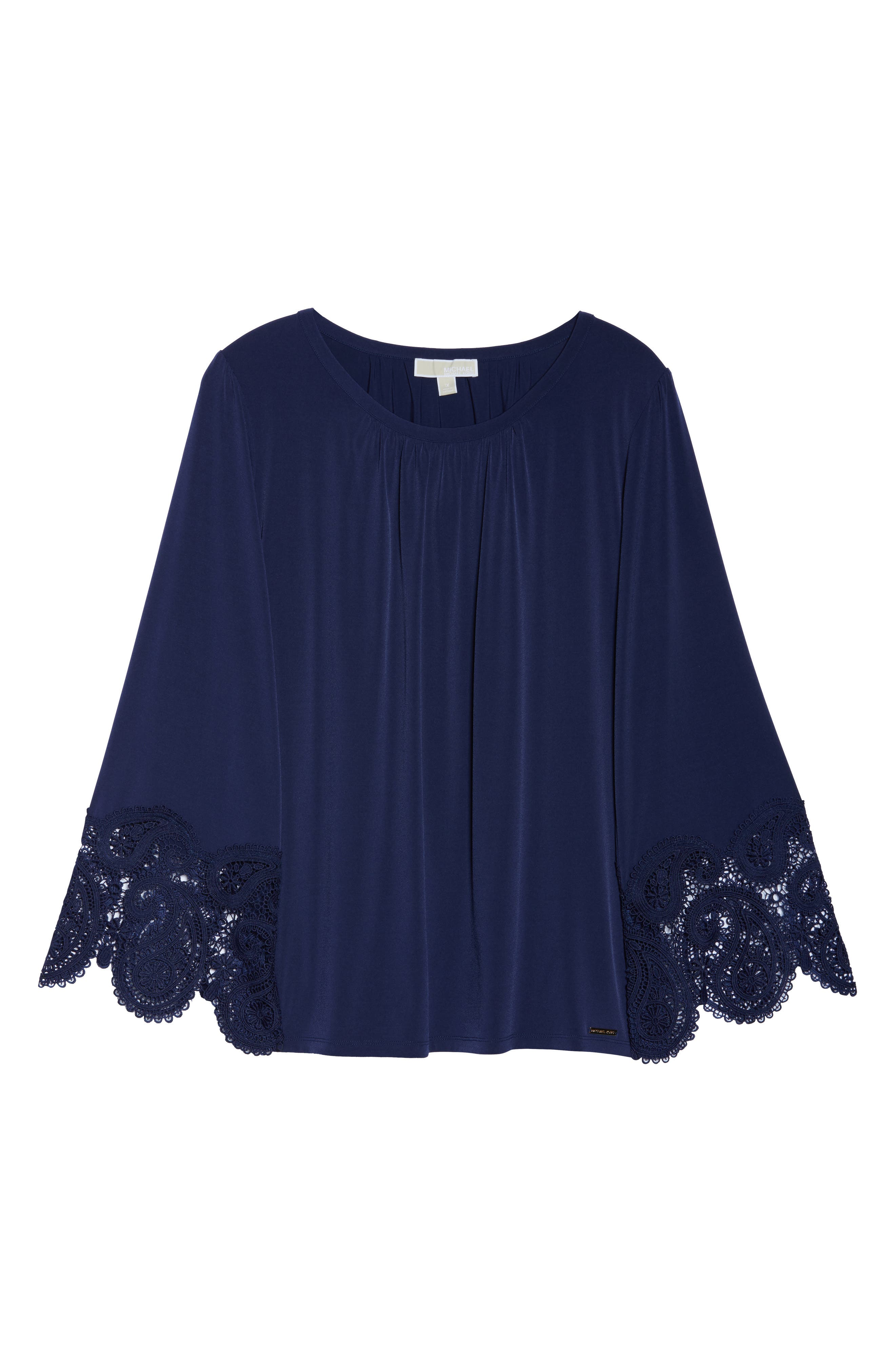 Lace Cuff Top,                             Alternate thumbnail 7, color,                             True Navy