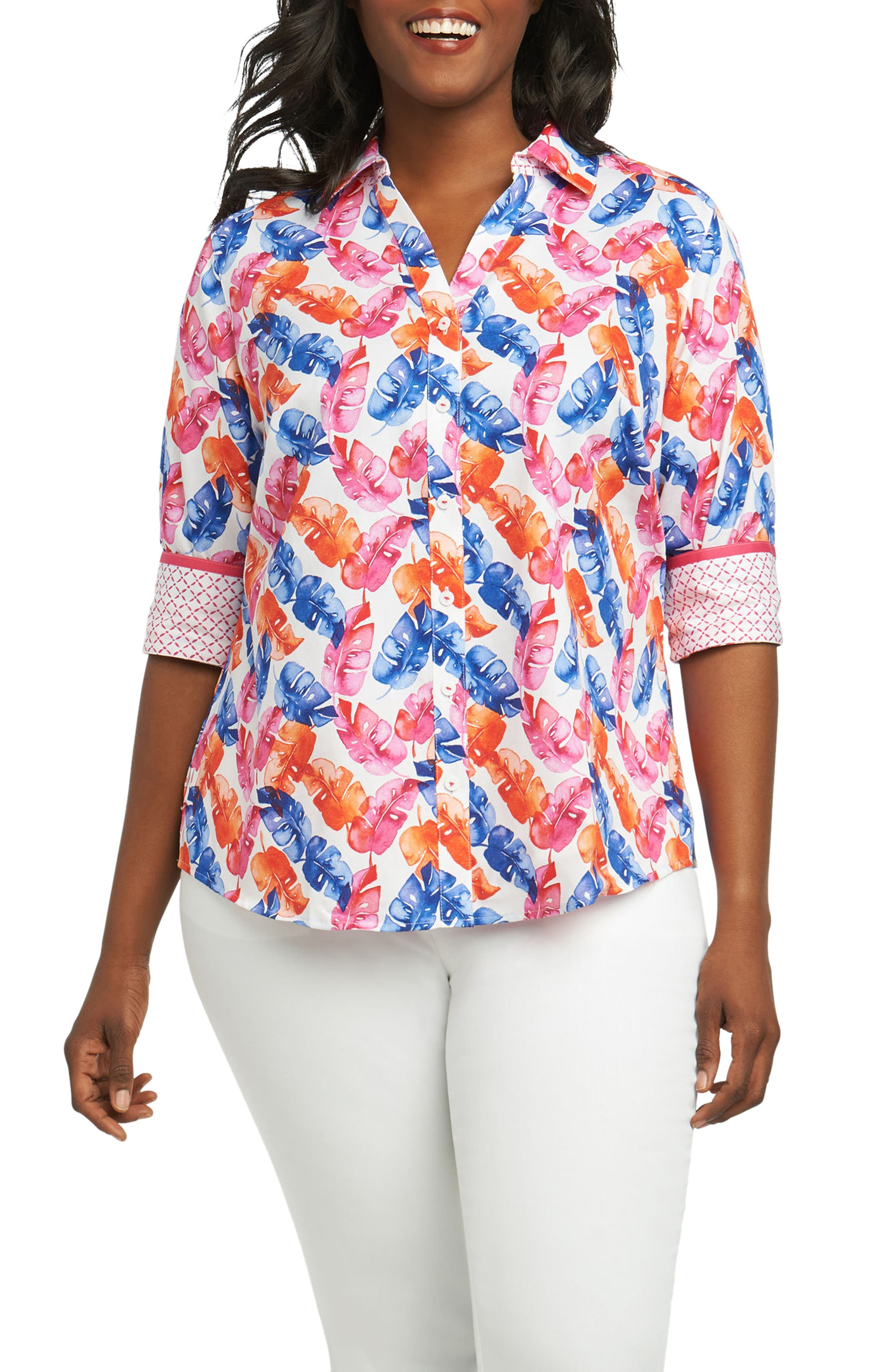 Foxcroft Mary Layered Palms Wrinkle Free Shirt (Plus Size)