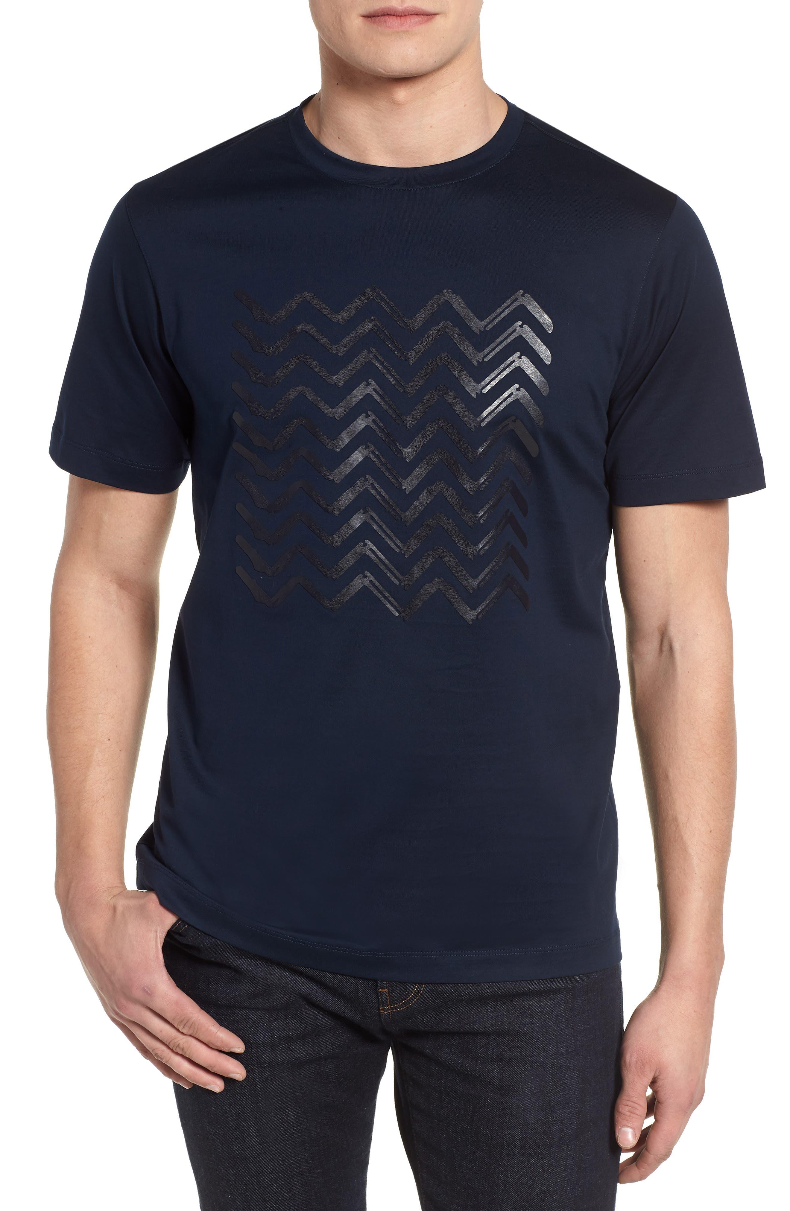 Crewneck T-Shirt,                         Main,                         color, Navy
