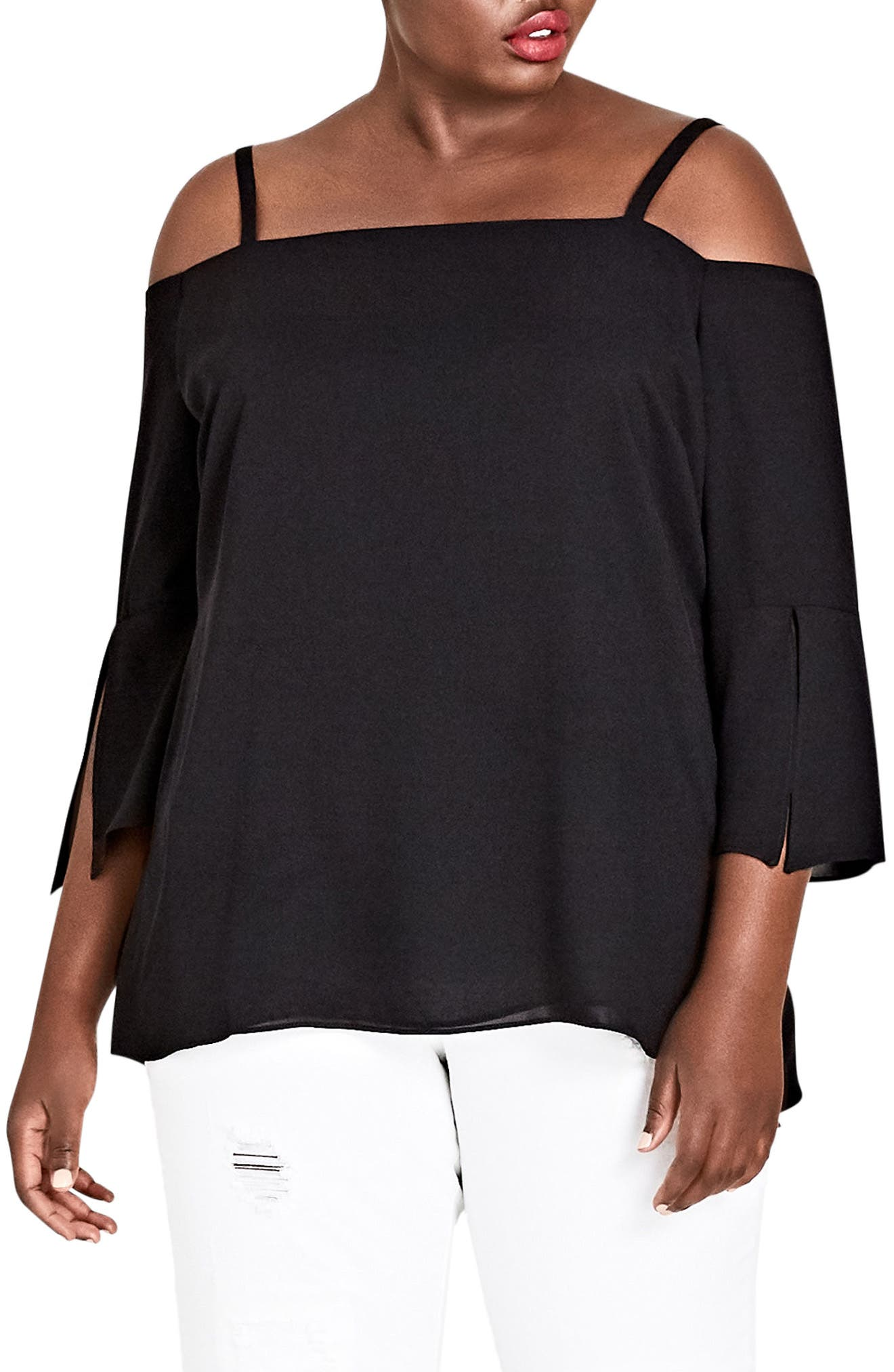 Alternate Image 1 Selected - City Chic Split Sleeve Off the Shoulder Top (Plus Size)