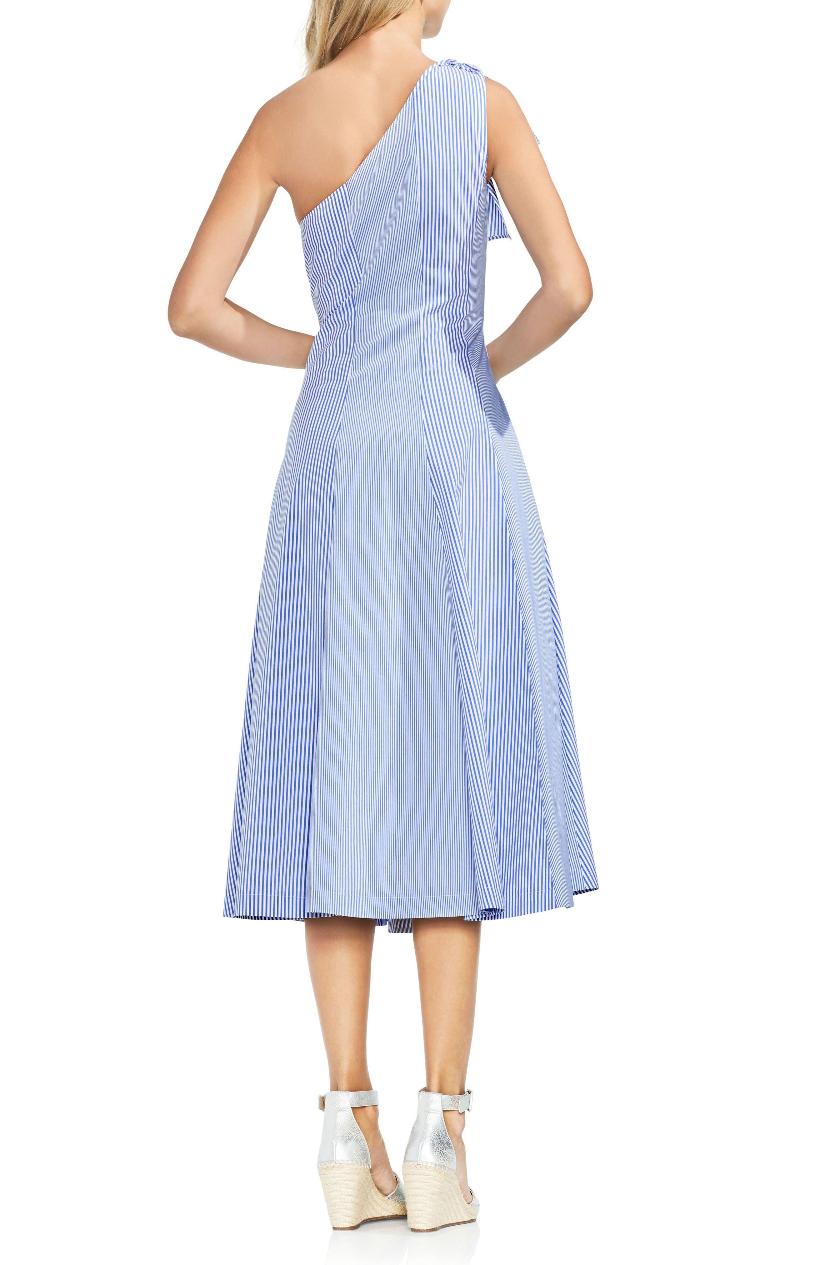 One-Shoulder Pinstripe Dress,                             Alternate thumbnail 2, color,                             Amalfi