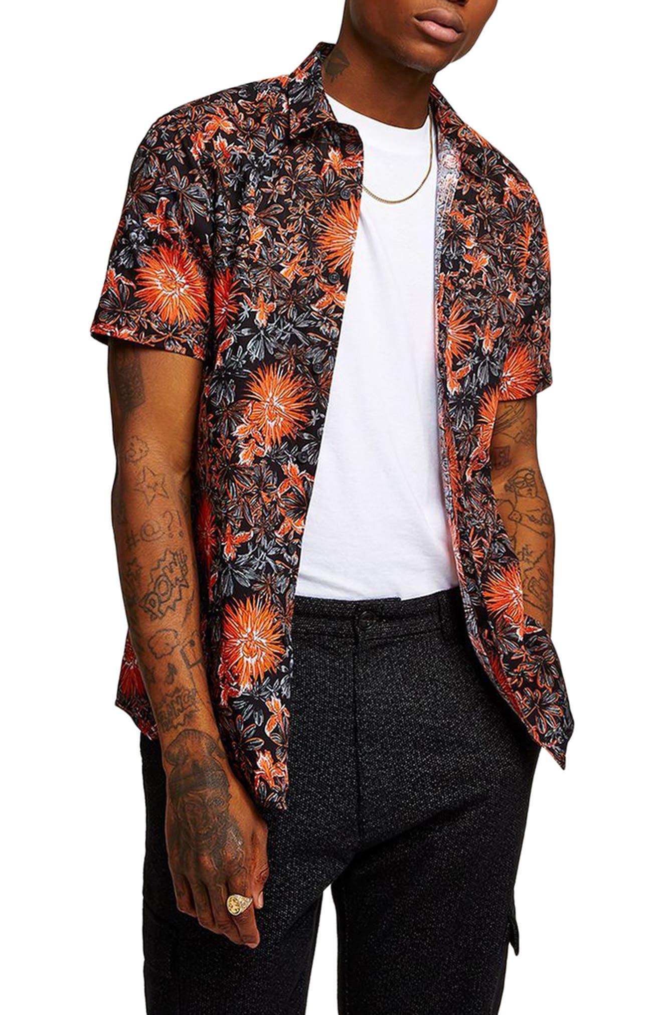 Floral Print Shirt,                             Main thumbnail 1, color,                             Orange Multi