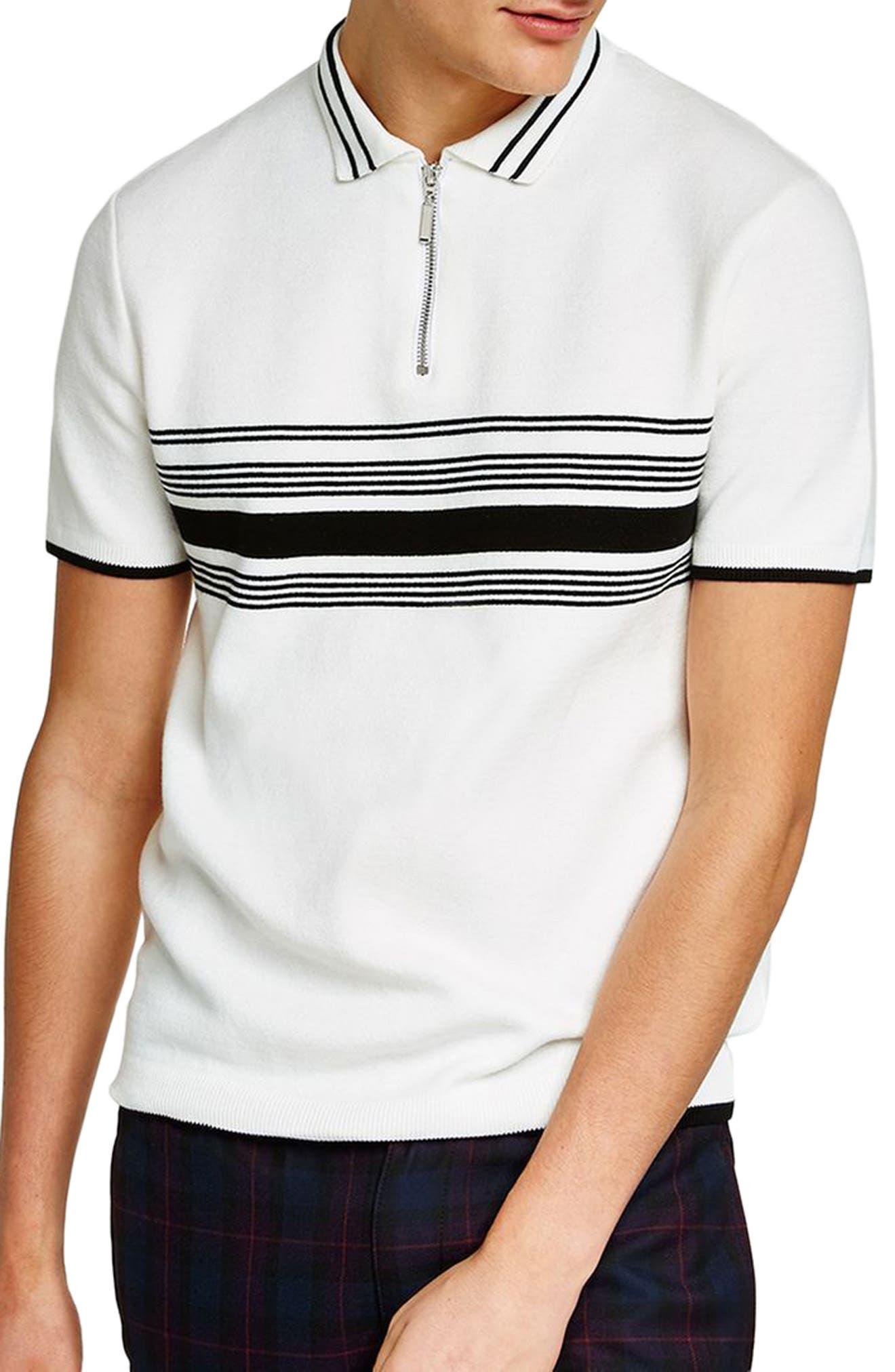 Slim Fit Stripe Knit Polo,                             Main thumbnail 1, color,                             White Multi