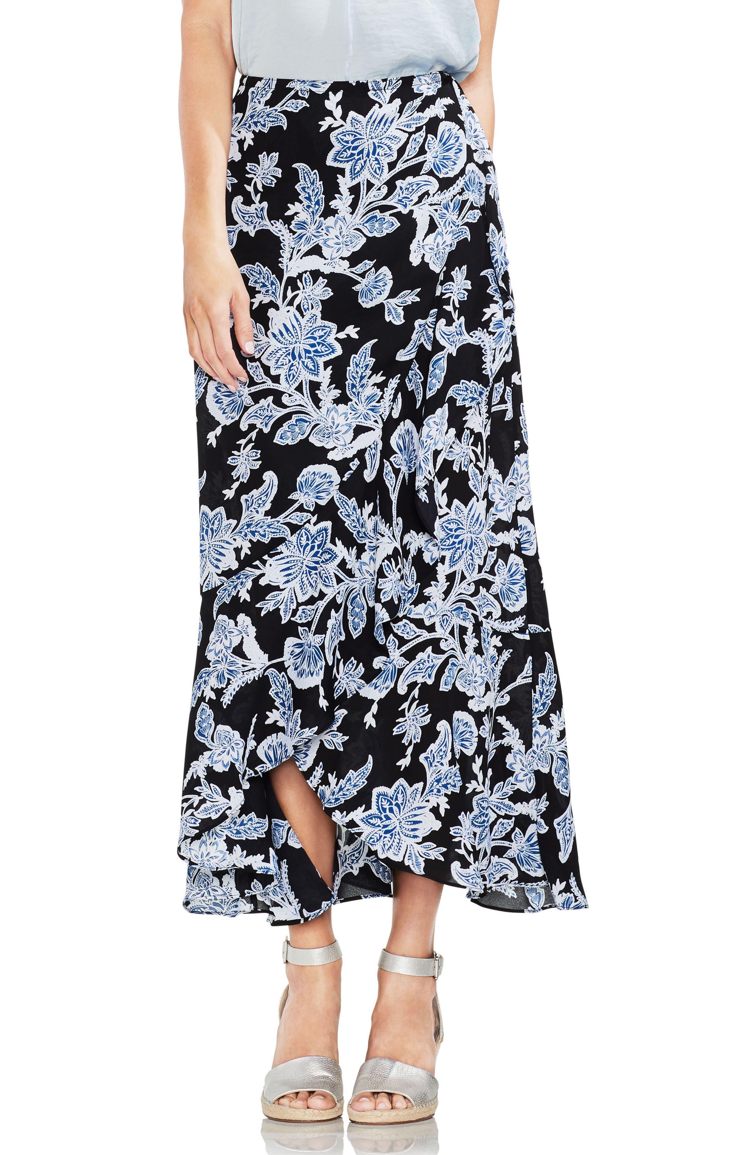 Ruffled Faux Wrap Floral Skirt,                         Main,                         color, Rich Black