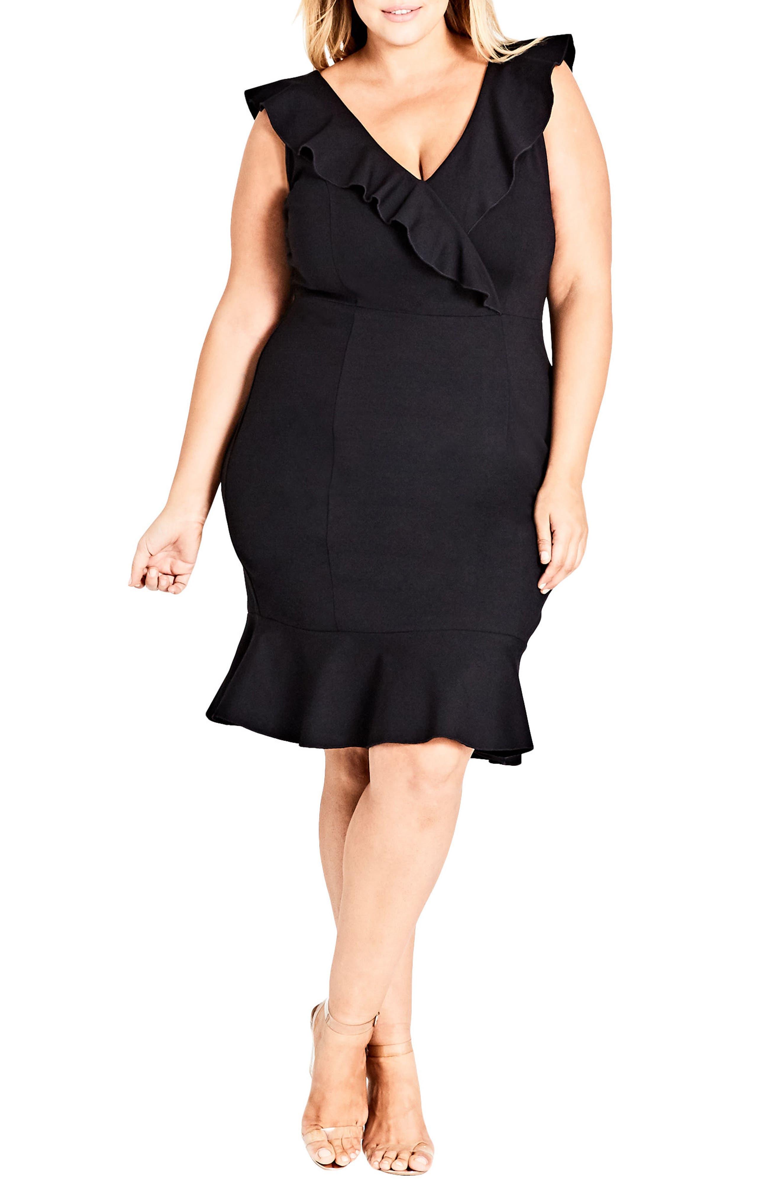 Frill Seeker Sheath Dress,                             Main thumbnail 1, color,                             Black