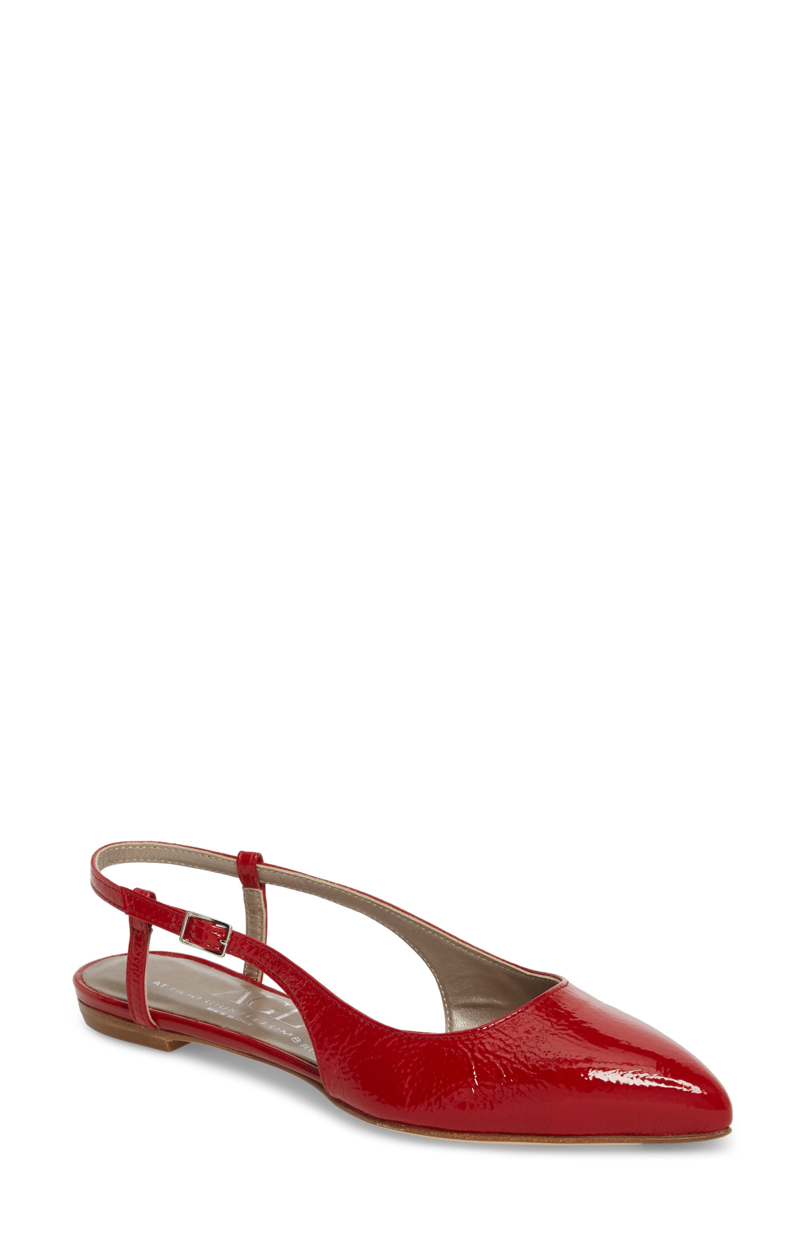 Slingback Flat,                             Main thumbnail 1, color,                             Red Glammy Leather
