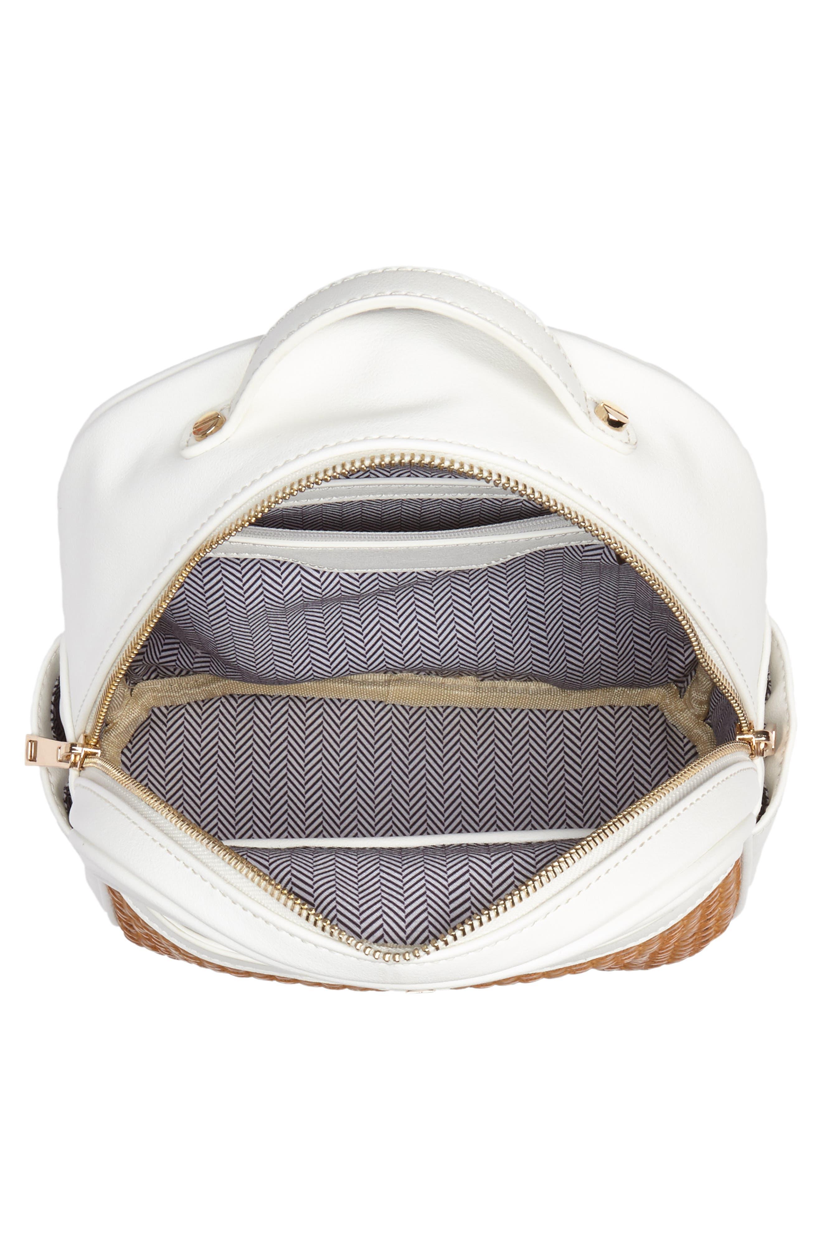 Mali + Lili Harper Lili Basket Weave Backpack,                             Alternate thumbnail 4, color,                             White
