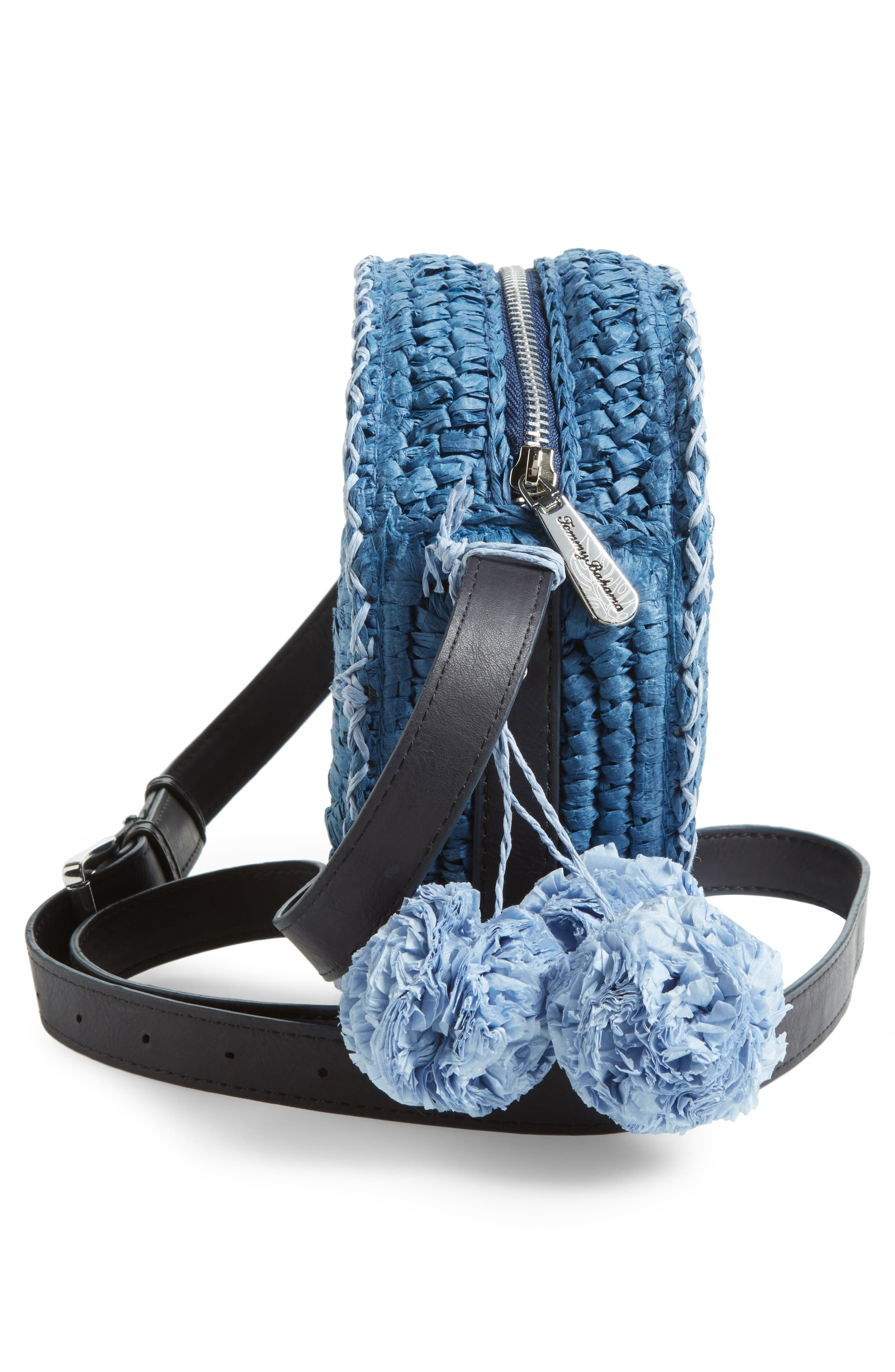 Pirro Woven Straw Crossbody Bag,                             Alternate thumbnail 5, color,                             Navy