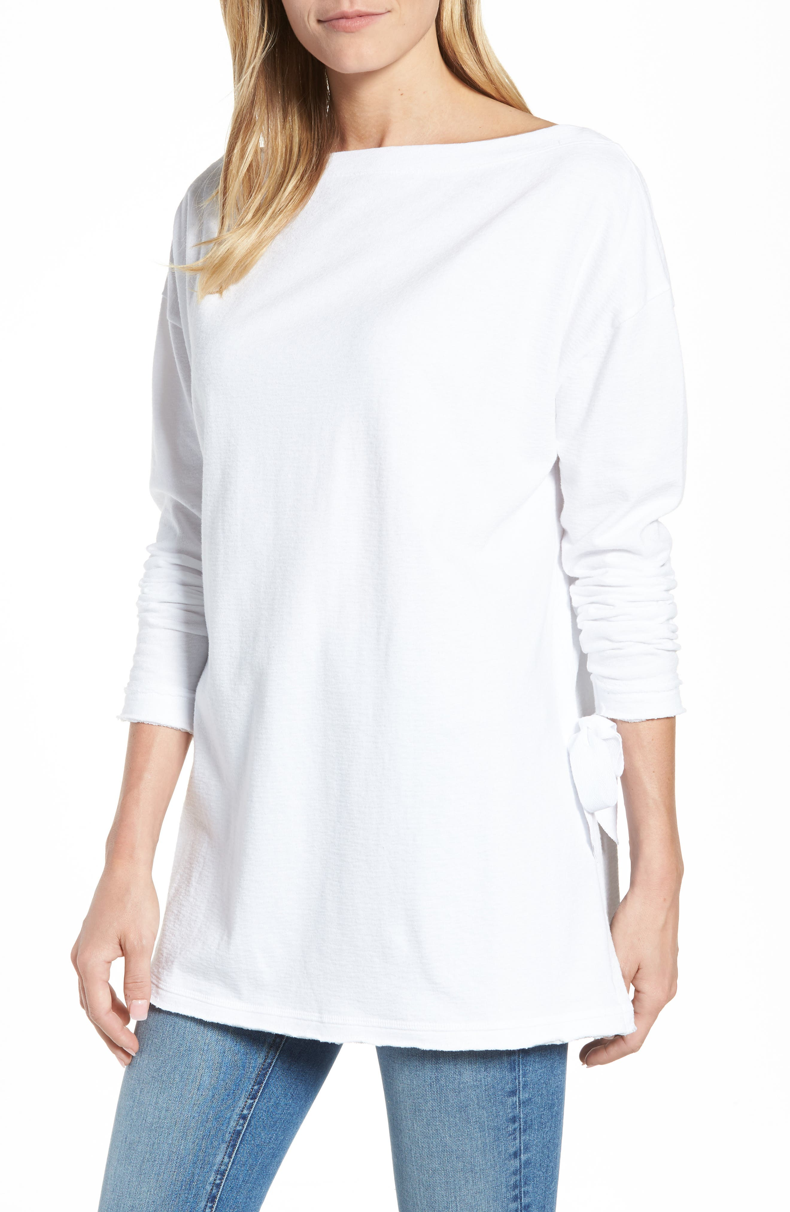 Caslon® Side Tie Cotton Tunic Top (Regular & Petite)