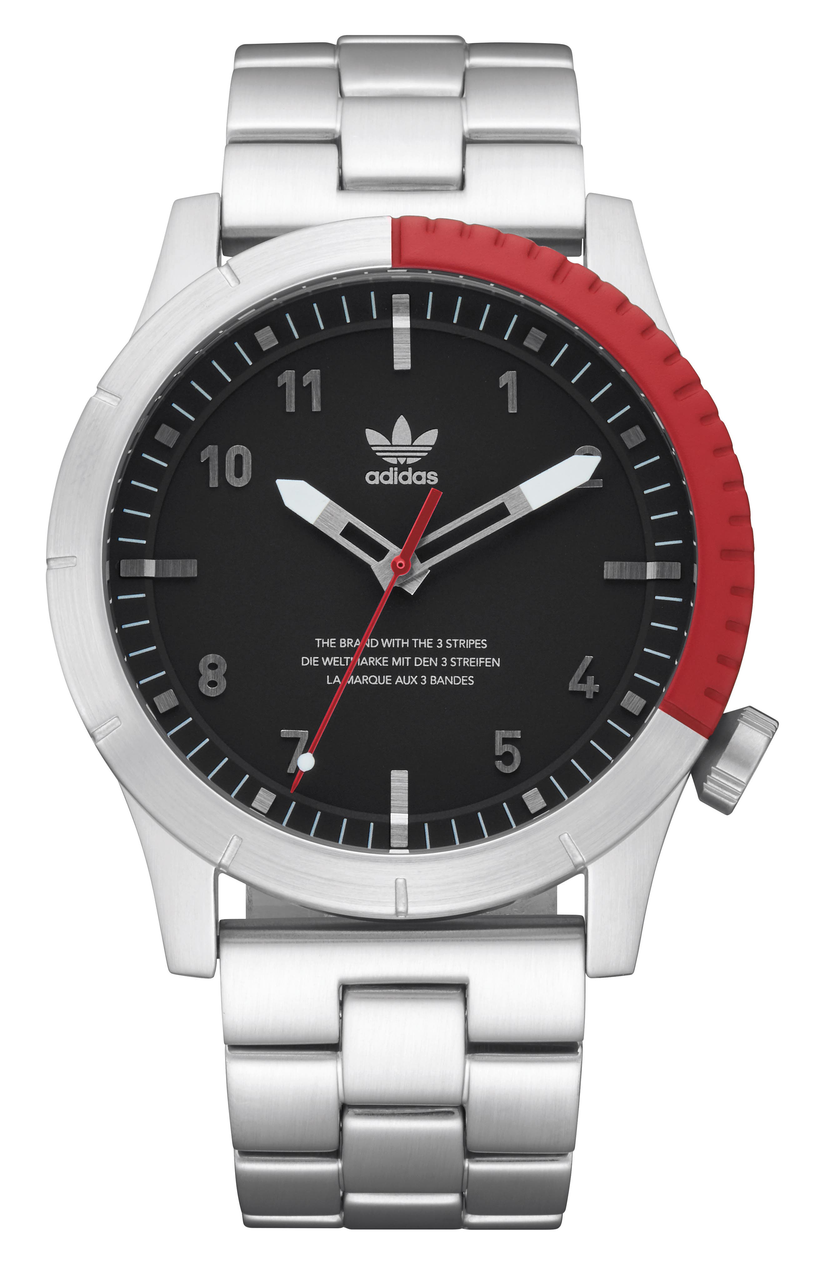 Cypher Bracelet Watch, 42mm,                         Main,                         color, Silver/ Black/ Red