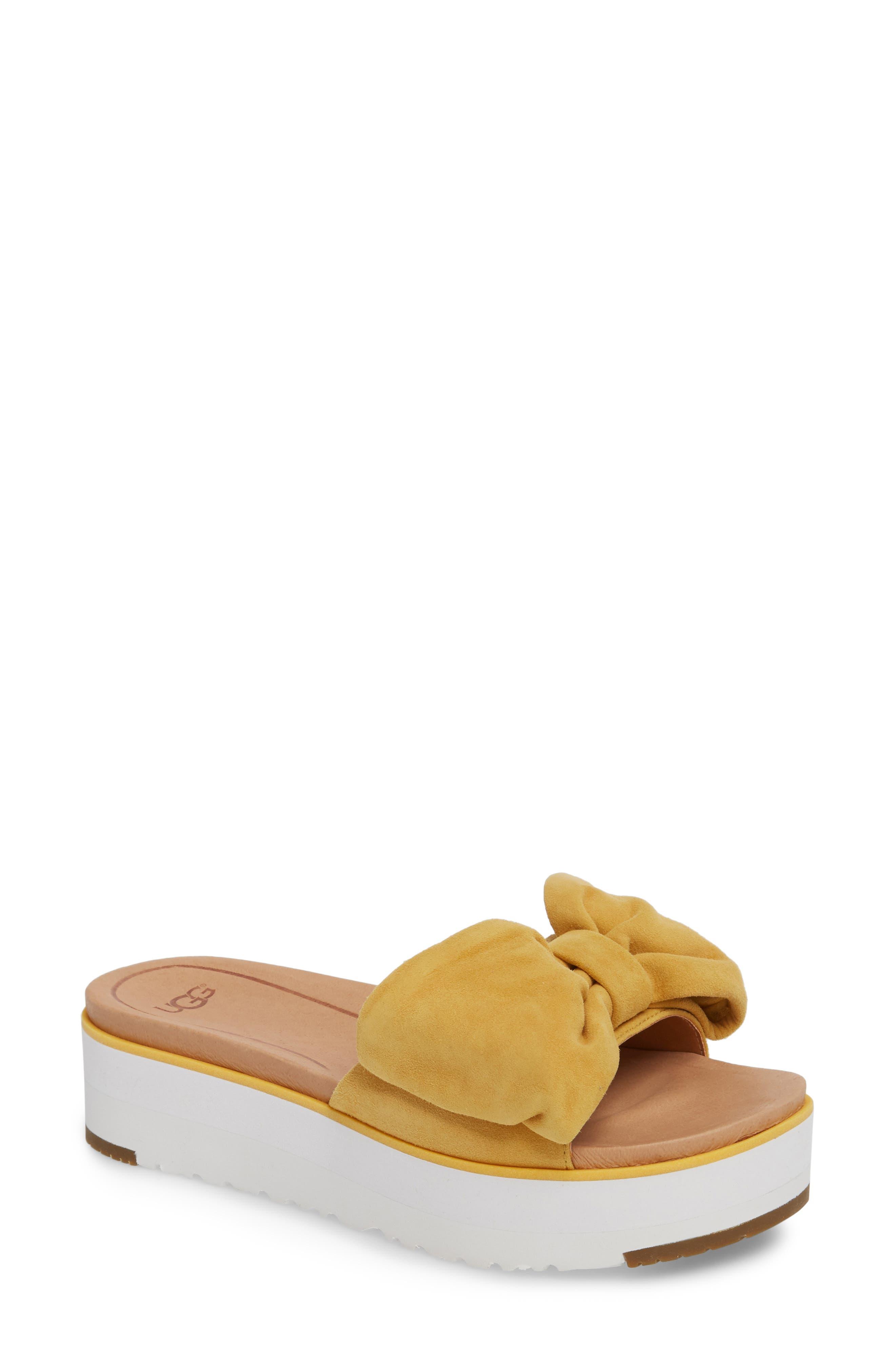 Joan Platform Sandal,                             Main thumbnail 1, color,                             Sunflower Suede