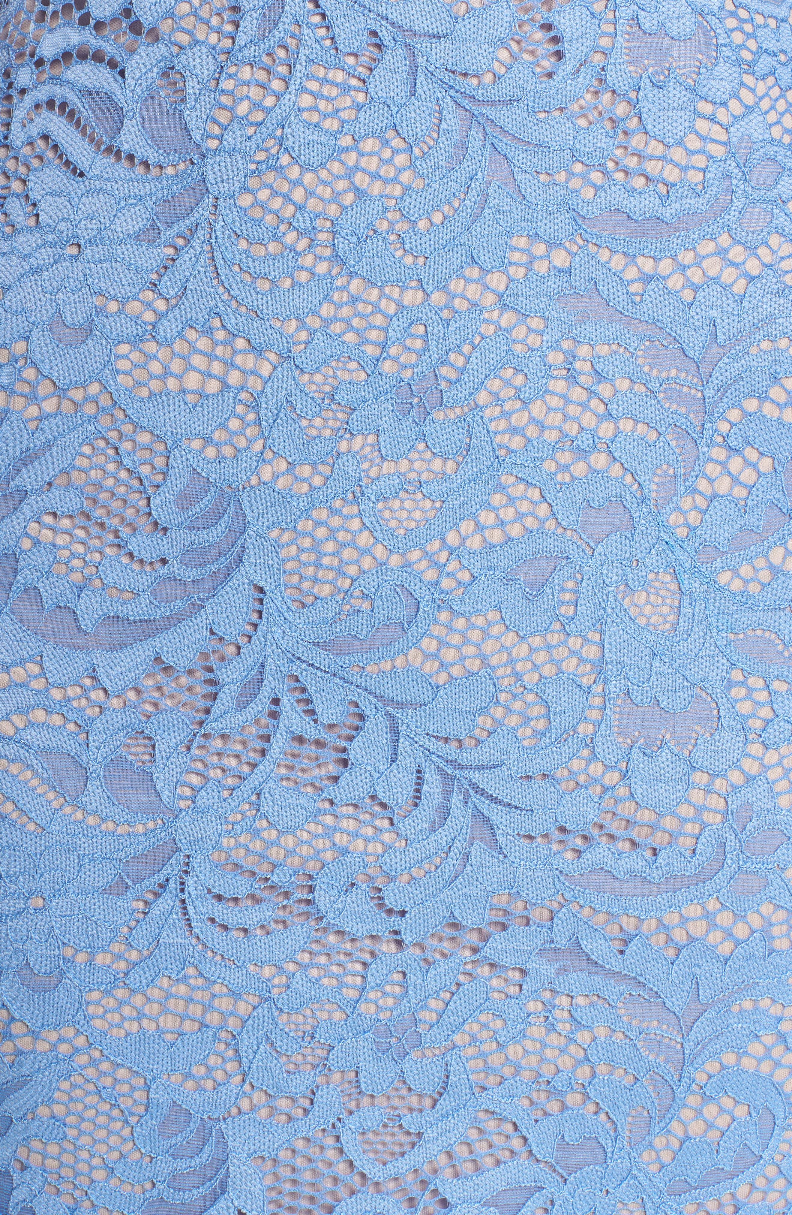 Racerback Lace Halter Dress,                             Alternate thumbnail 5, color,                             Periwinkle/ Mauve