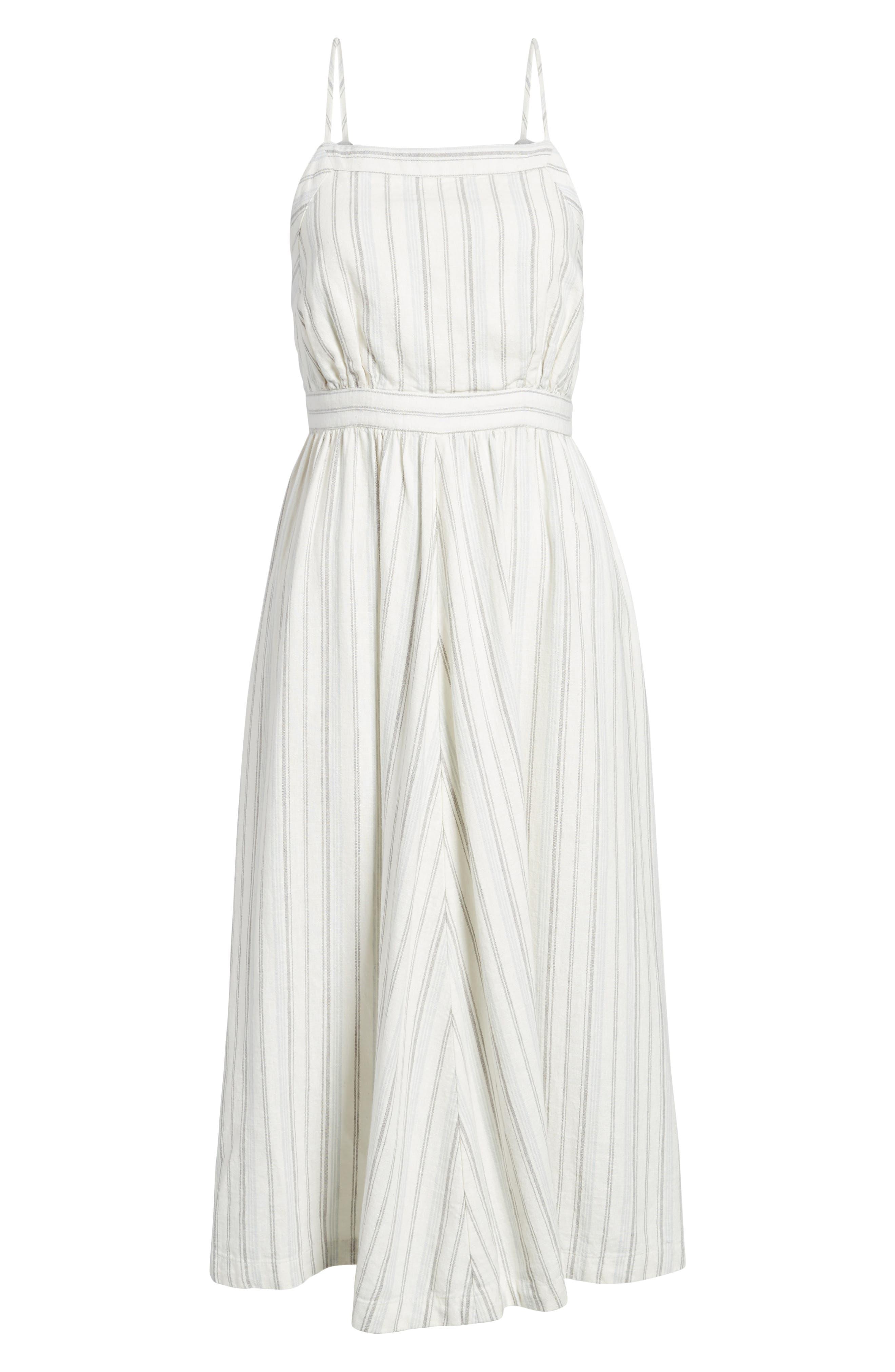 Stripe Apron Dress,                             Alternate thumbnail 6, color,                             Ivory Verigated Stripe