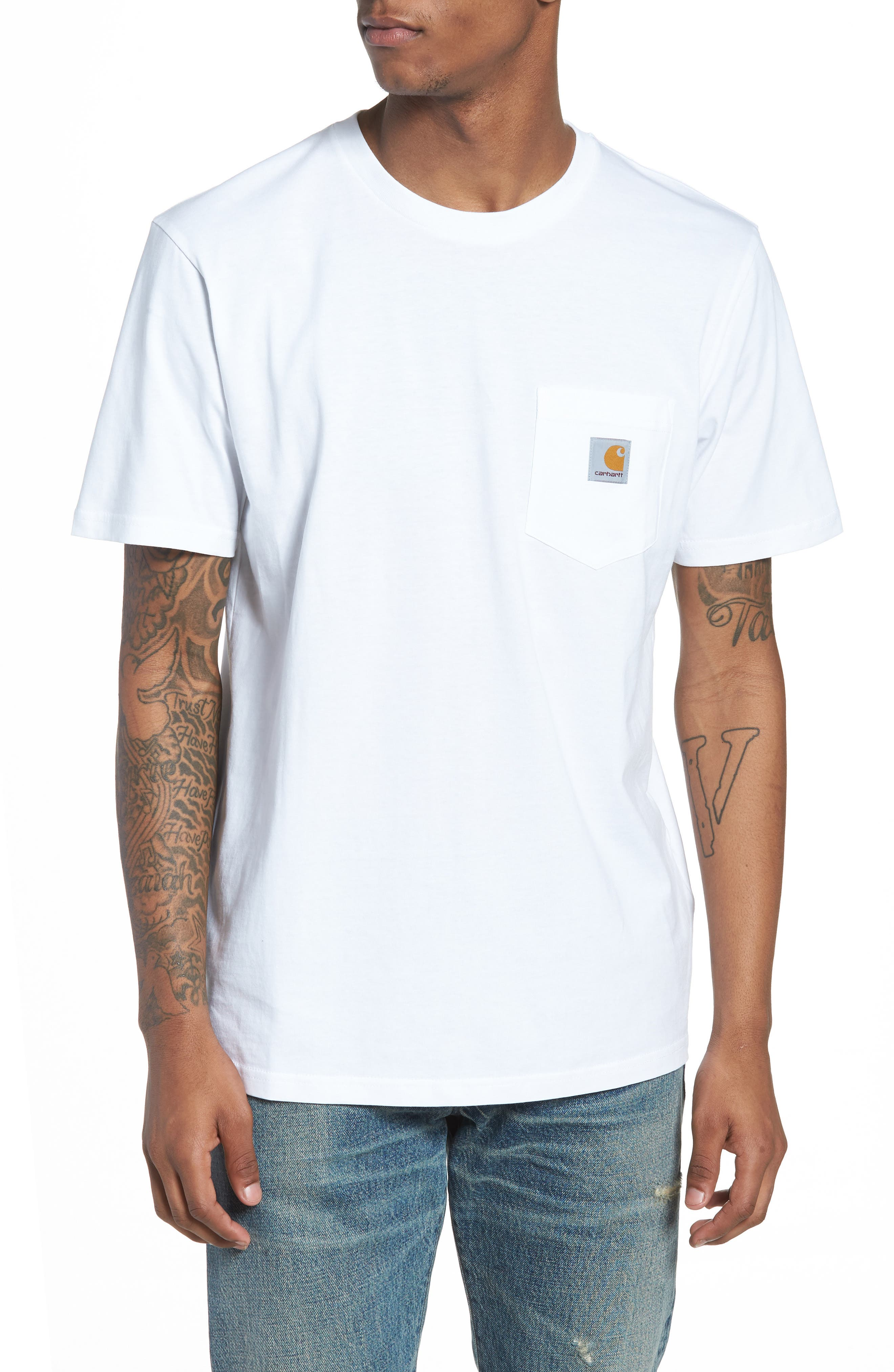 Logo Pocket T-Shirt,                         Main,                         color, White