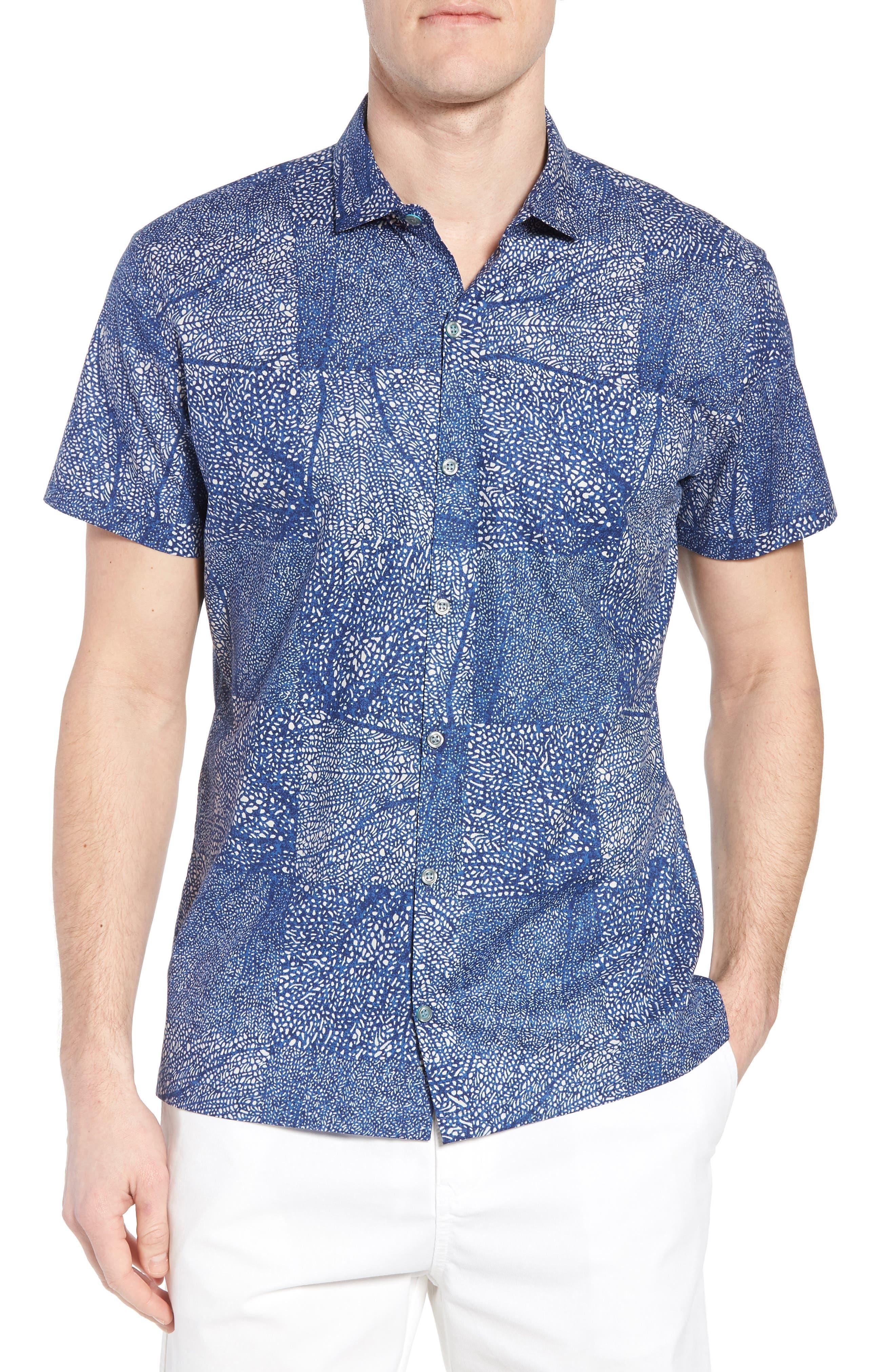 Black Coral Trim Fit Camp Shirt,                         Main,                         color, Navy