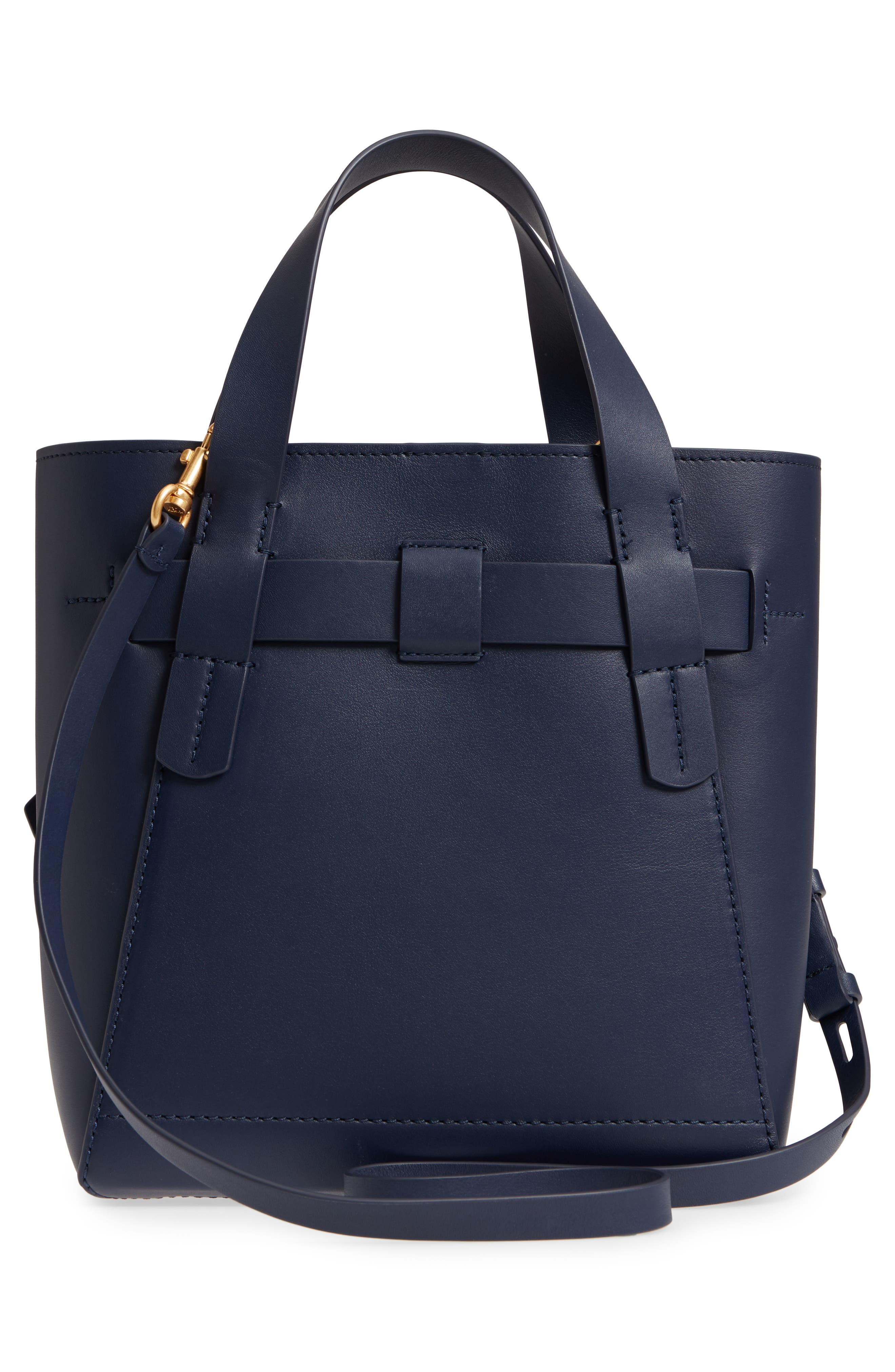 Small Gemini Link Leather Tote,                             Alternate thumbnail 3, color,                             Royal Navy
