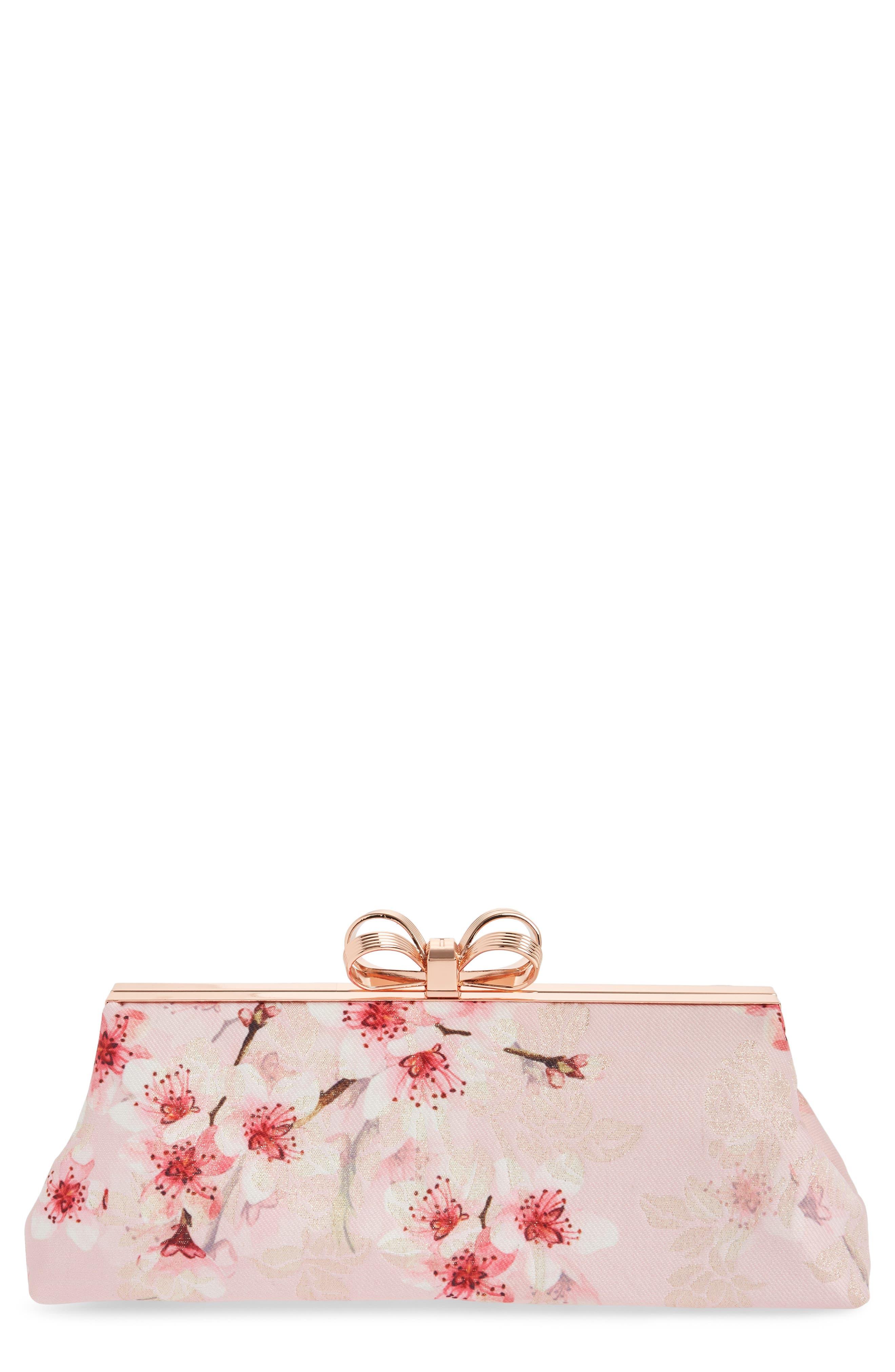 Diona Glitter Frame Evening Clutch,                             Main thumbnail 1, color,                             Light Pink
