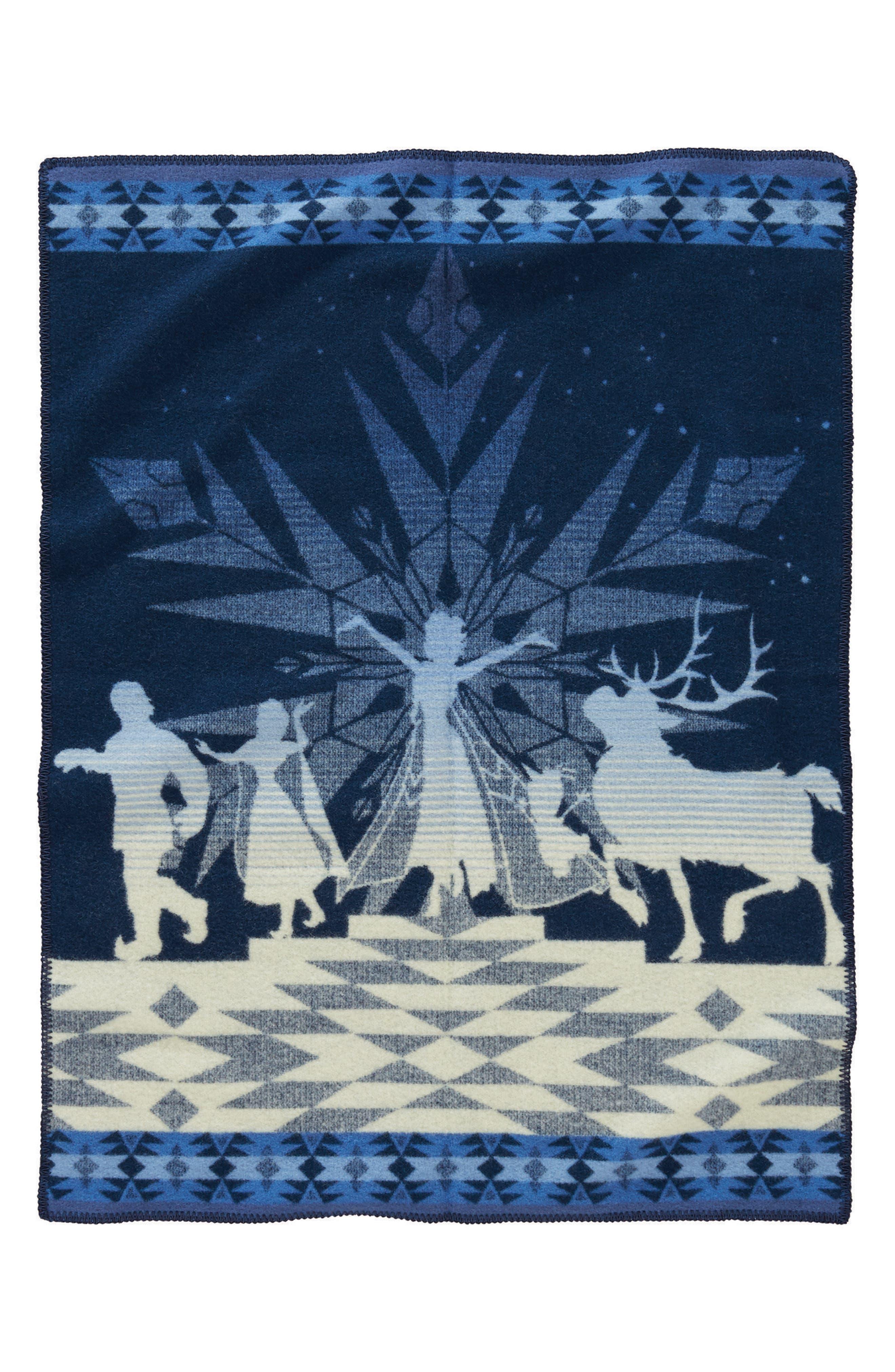 Disney 'Frozen' Friendship Blanket,                             Main thumbnail 1, color,                             Navy
