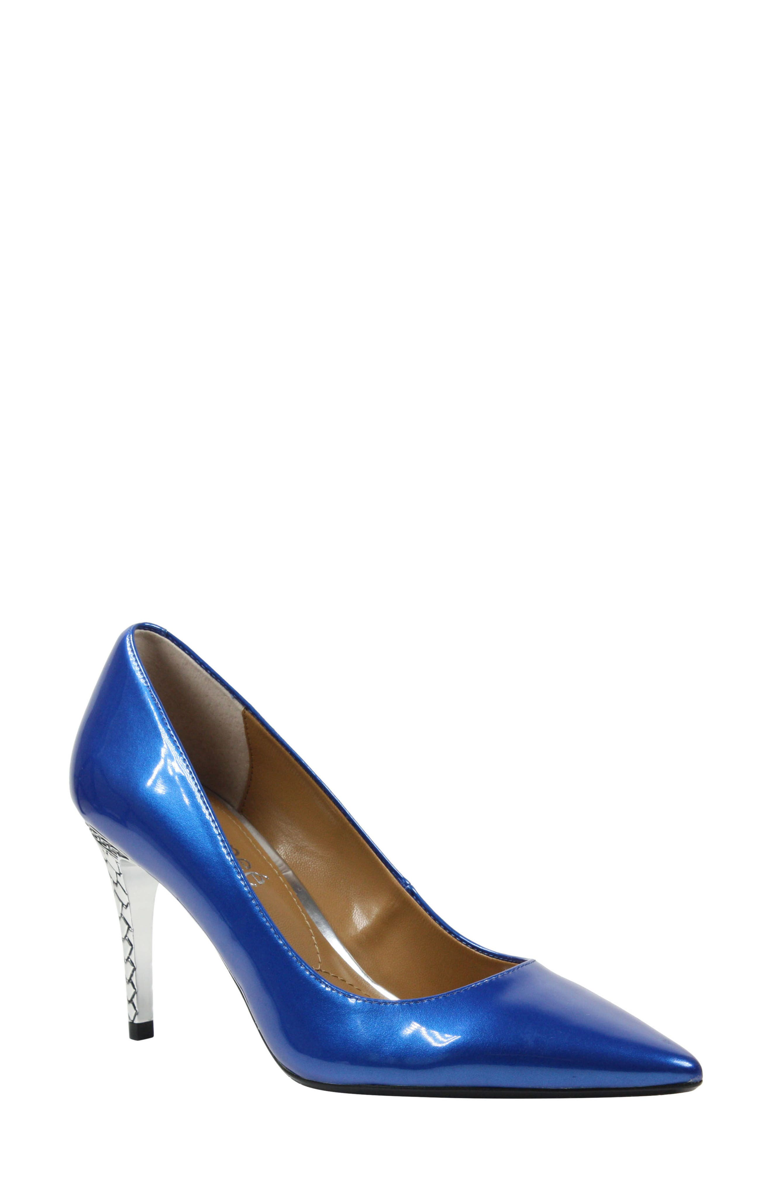 'Maressa' Pointy Toe Pump,                             Main thumbnail 1, color,                             Blue Patent