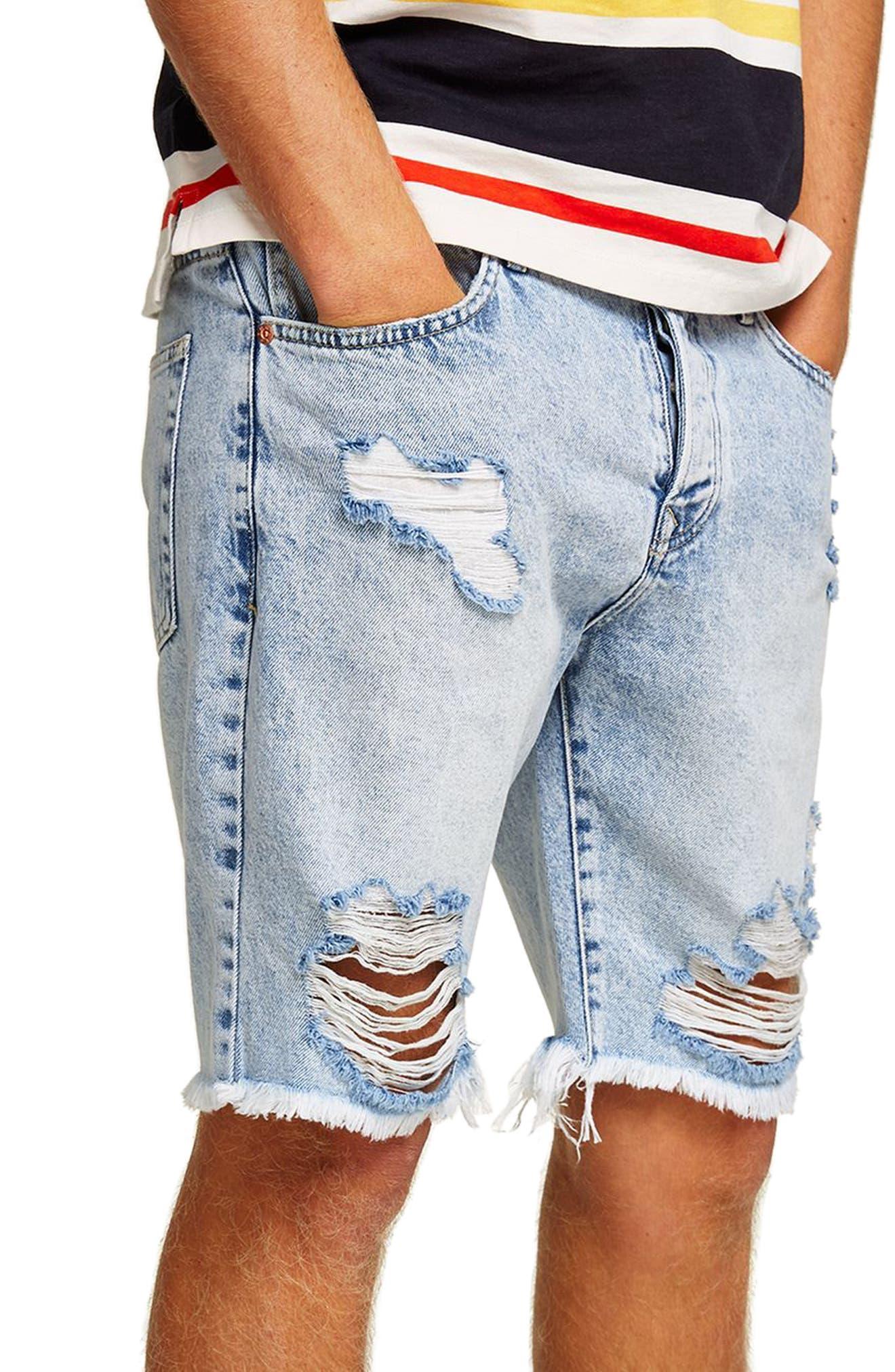 Slim Fit Ripped Denim Shorts,                             Alternate thumbnail 3, color,                             Light Blue