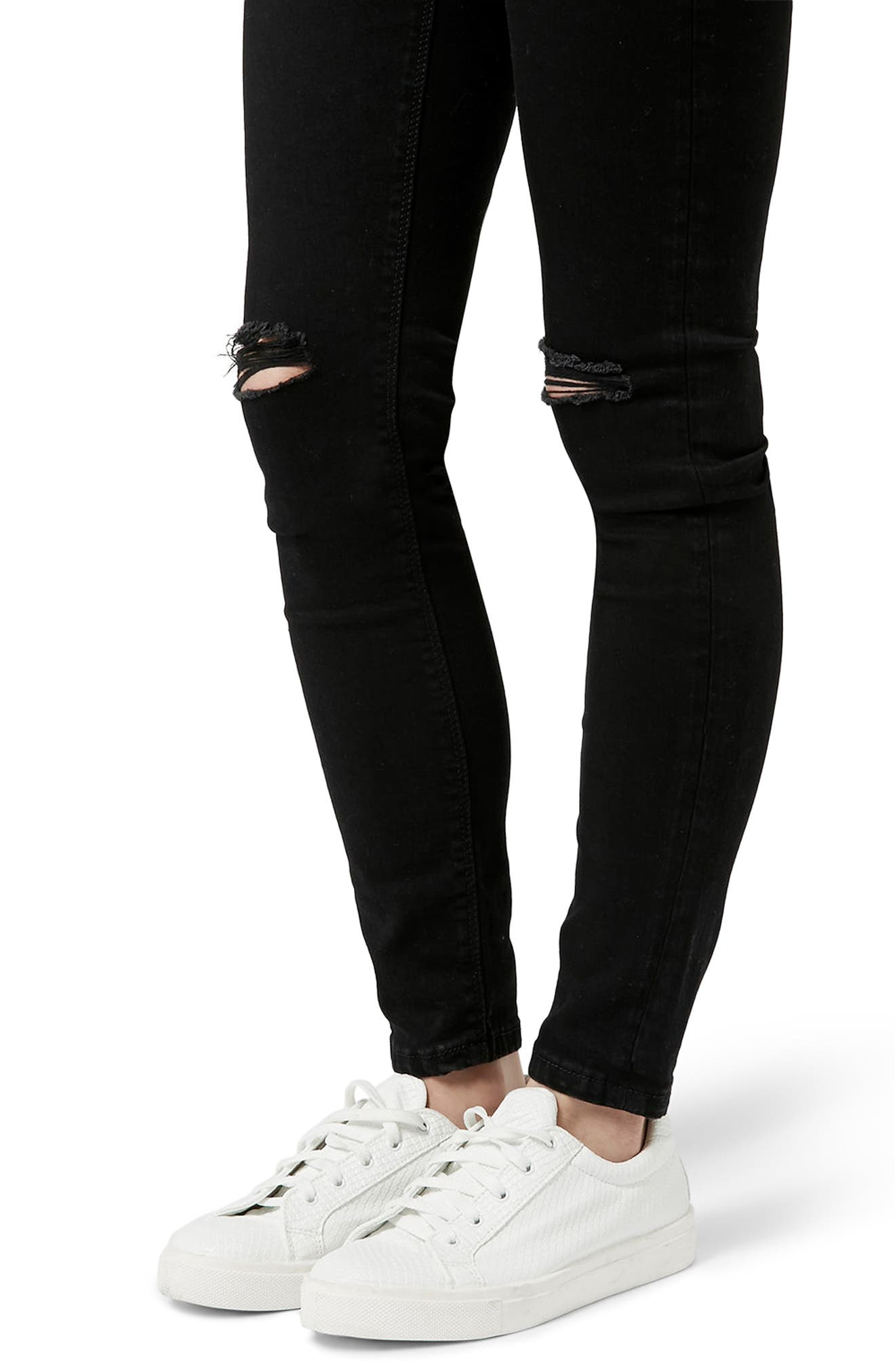 Moto Jamie Ripped Jeans,                             Alternate thumbnail 4, color,                             Black