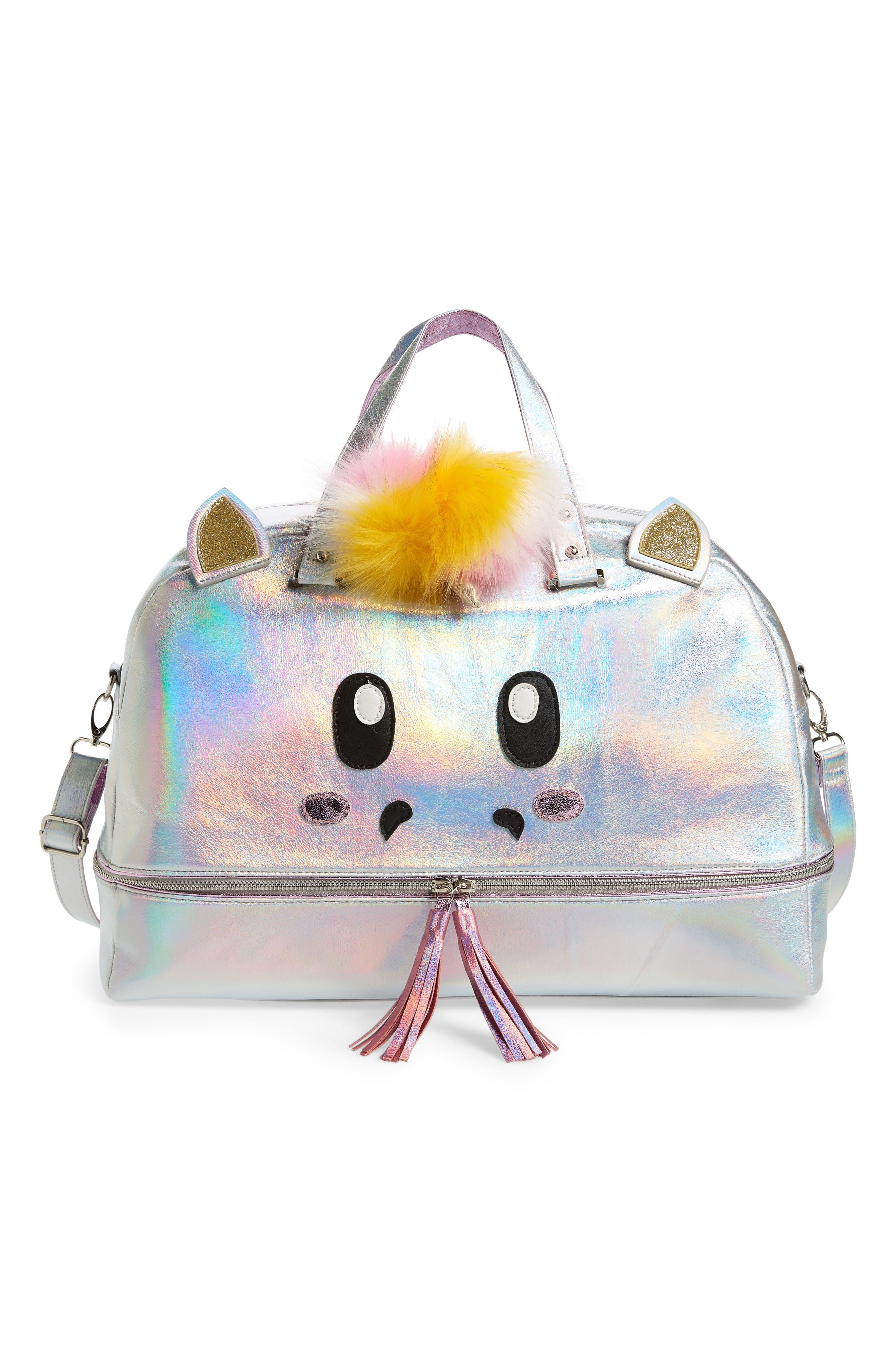 Duffel Bag,                             Main thumbnail 1, color,                             Silver Iridescent Unicorn