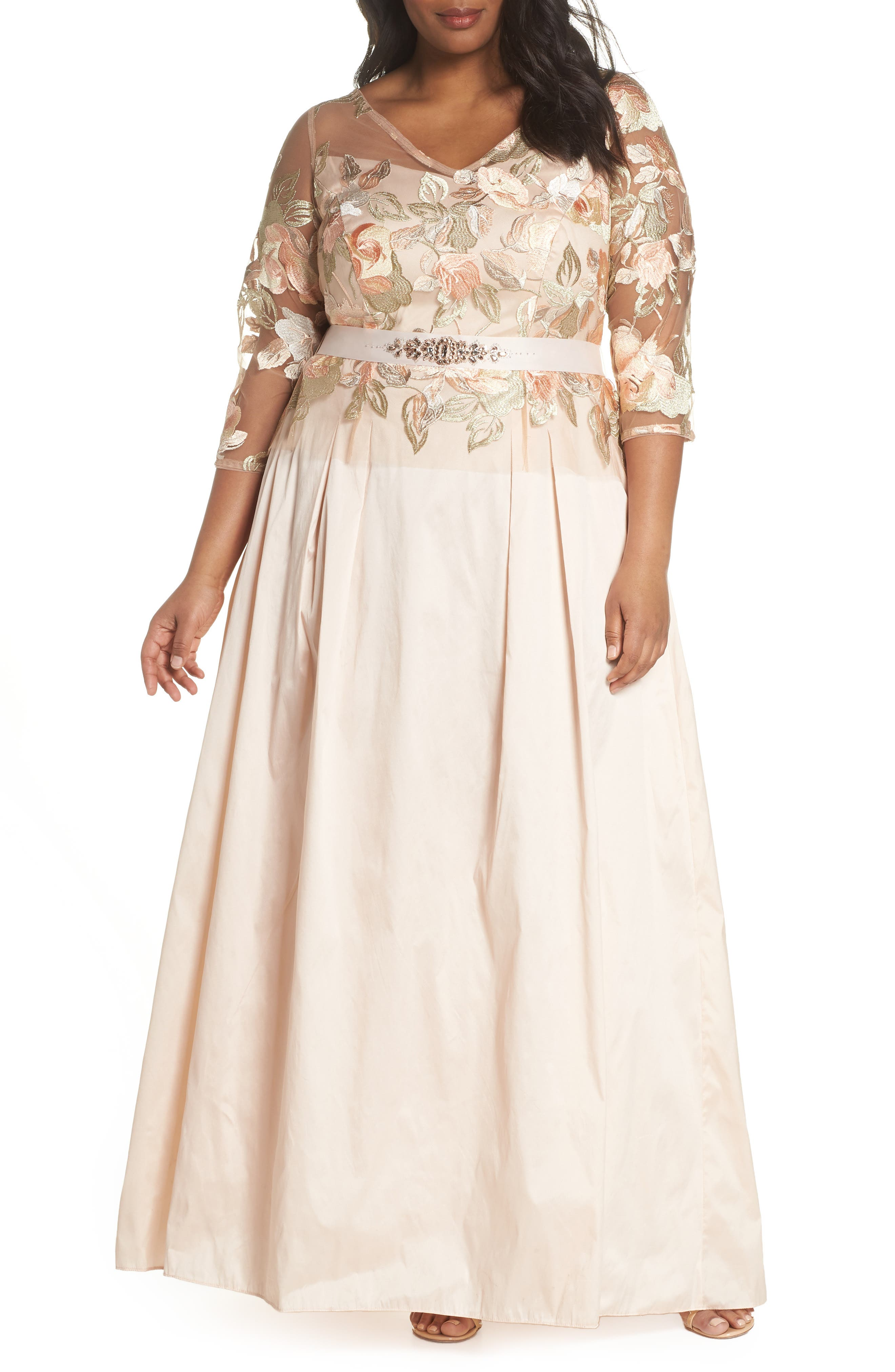 Floral Embroidered Gown,                             Main thumbnail 1, color,                             Pale Peach Multi