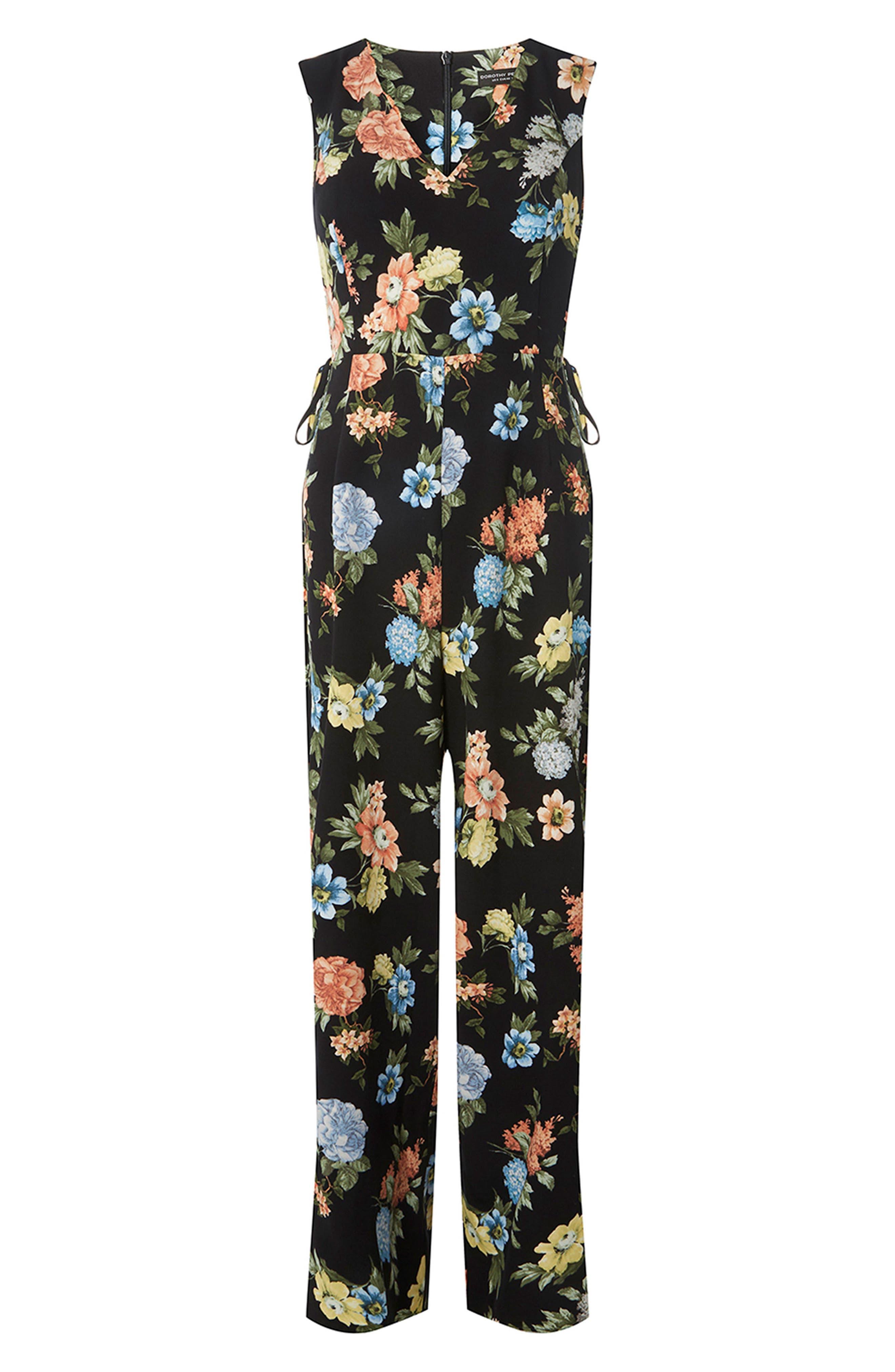 Floral Lace-Up Jumpsuit,                             Alternate thumbnail 4, color,                             Black