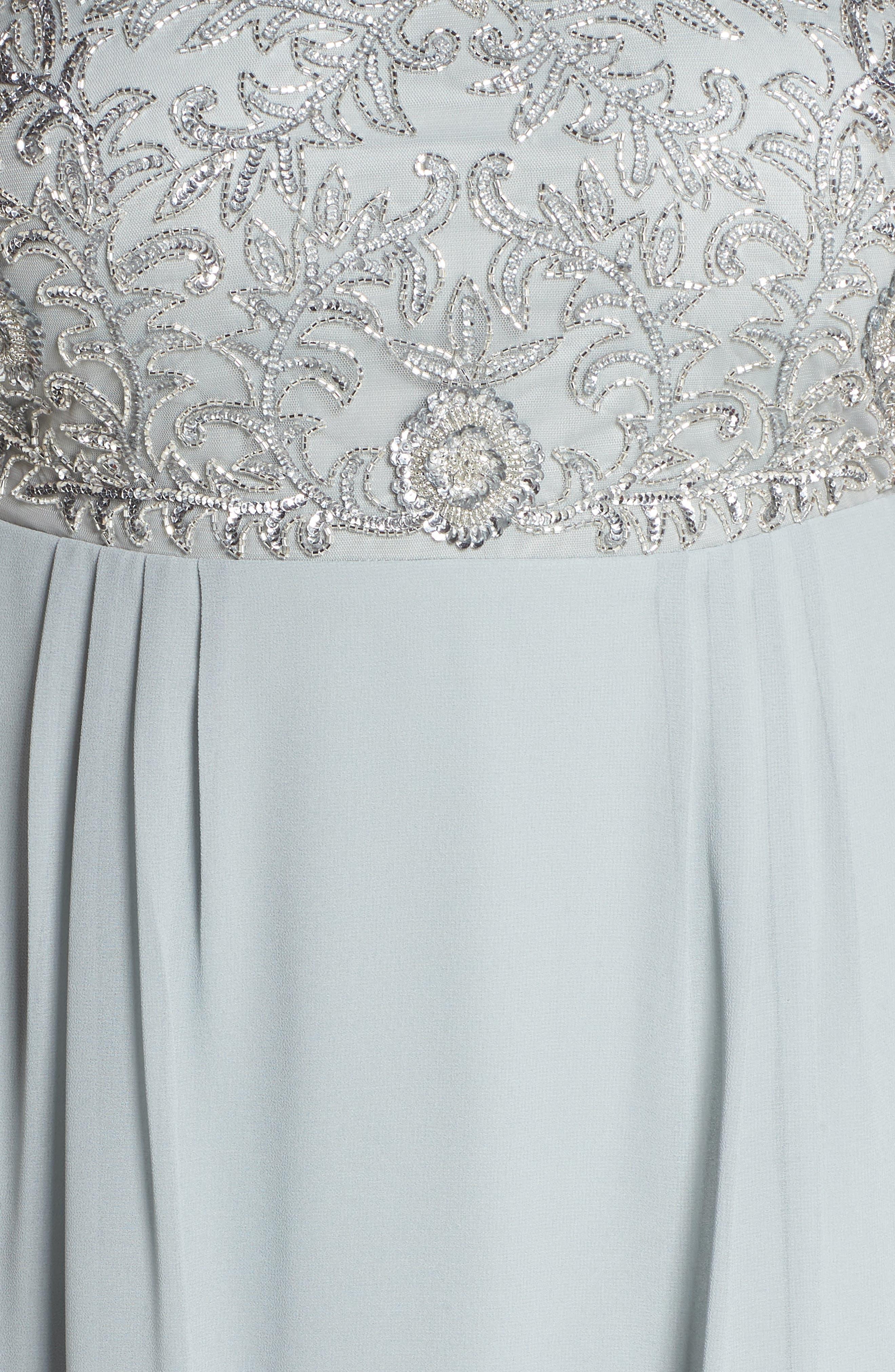 Beaded Midi Dress,                             Alternate thumbnail 5, color,                             Blue Mist