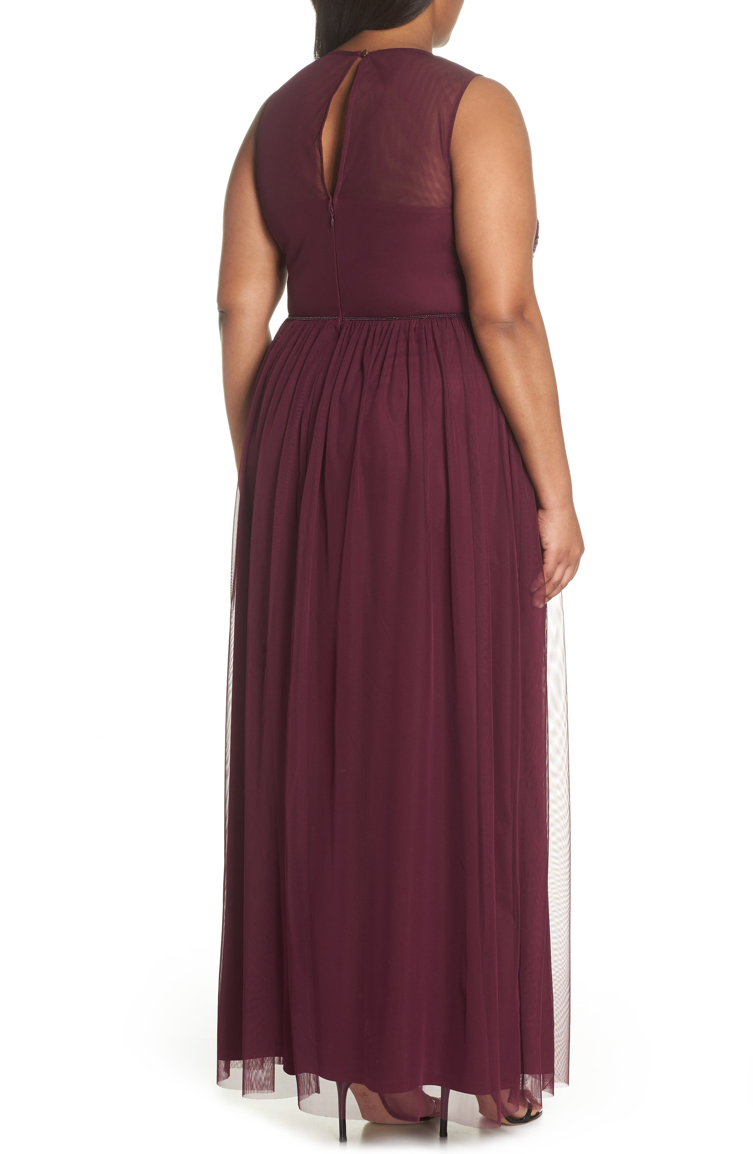 Beaded Gown,                             Alternate thumbnail 2, color,                             Cabernet