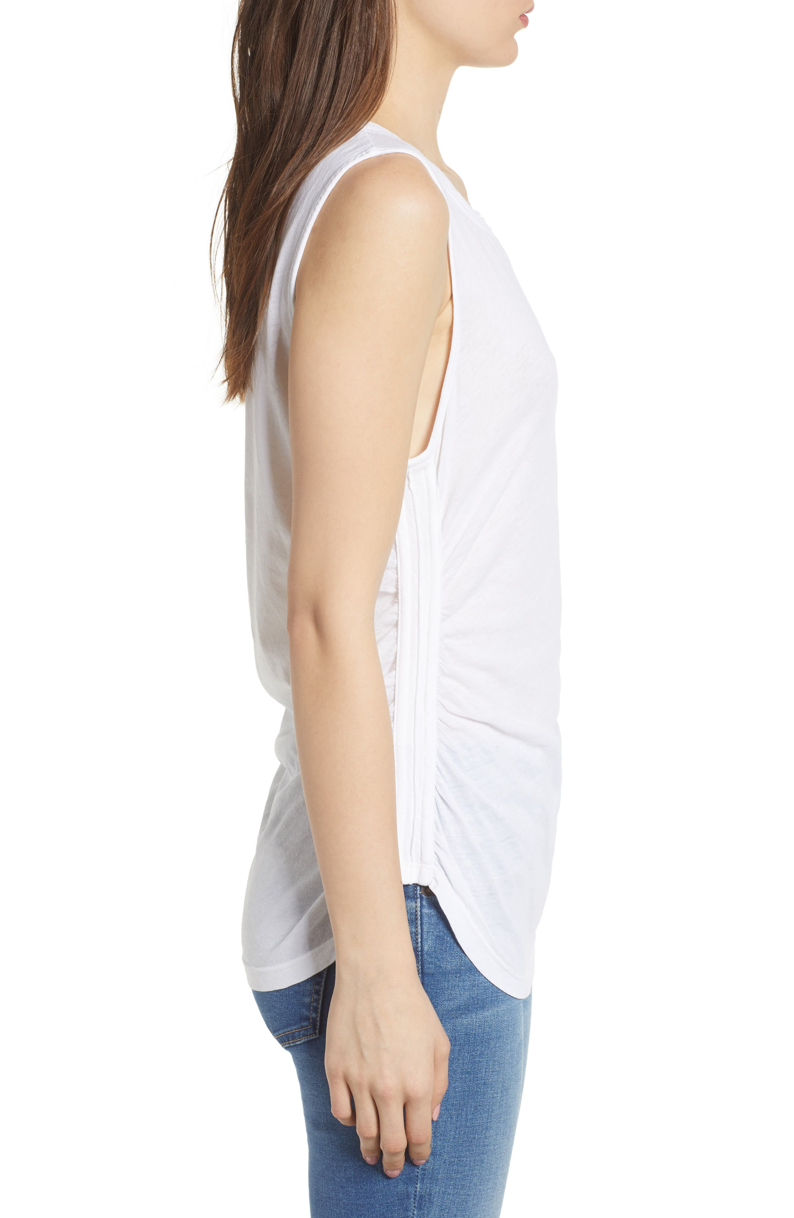 Ruched Supima<sup>®</sup> Cotton Tank,                             Alternate thumbnail 3, color,                             Paper