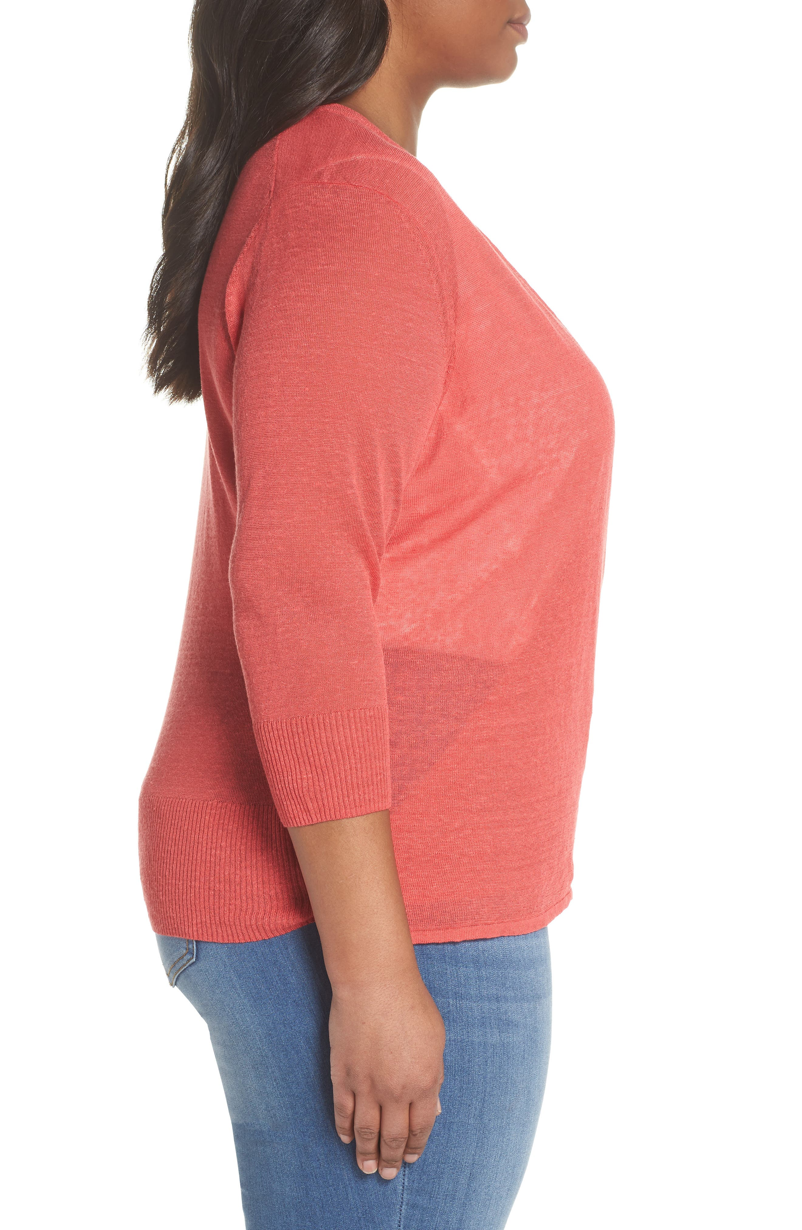 4-Way Convertible Three Quarter Sleeve Cardigan,                             Alternate thumbnail 4, color,                             Spiced Rose