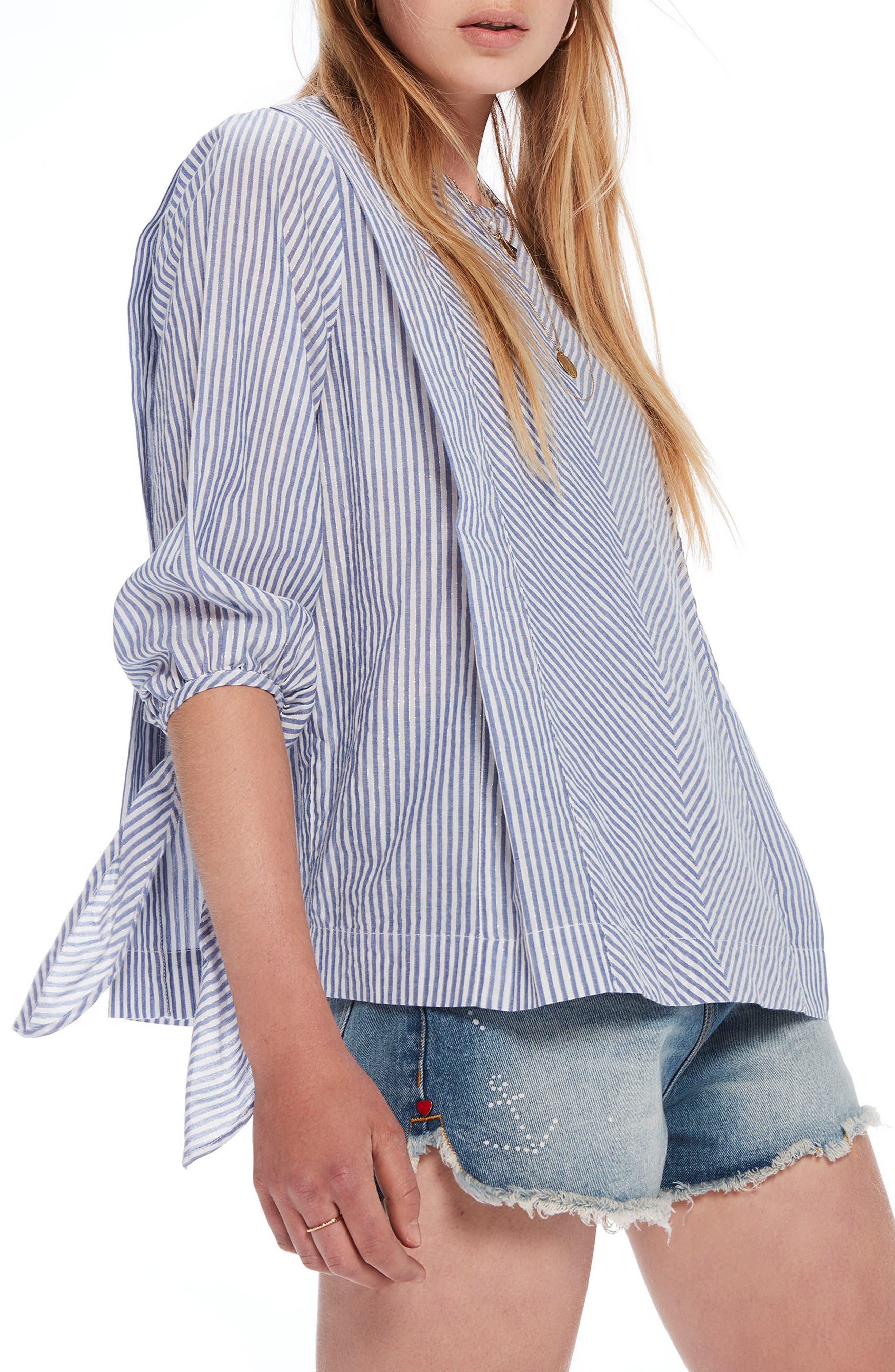 Metallic Stripe Tie Sleeve Top,                         Main,                         color, Combo A