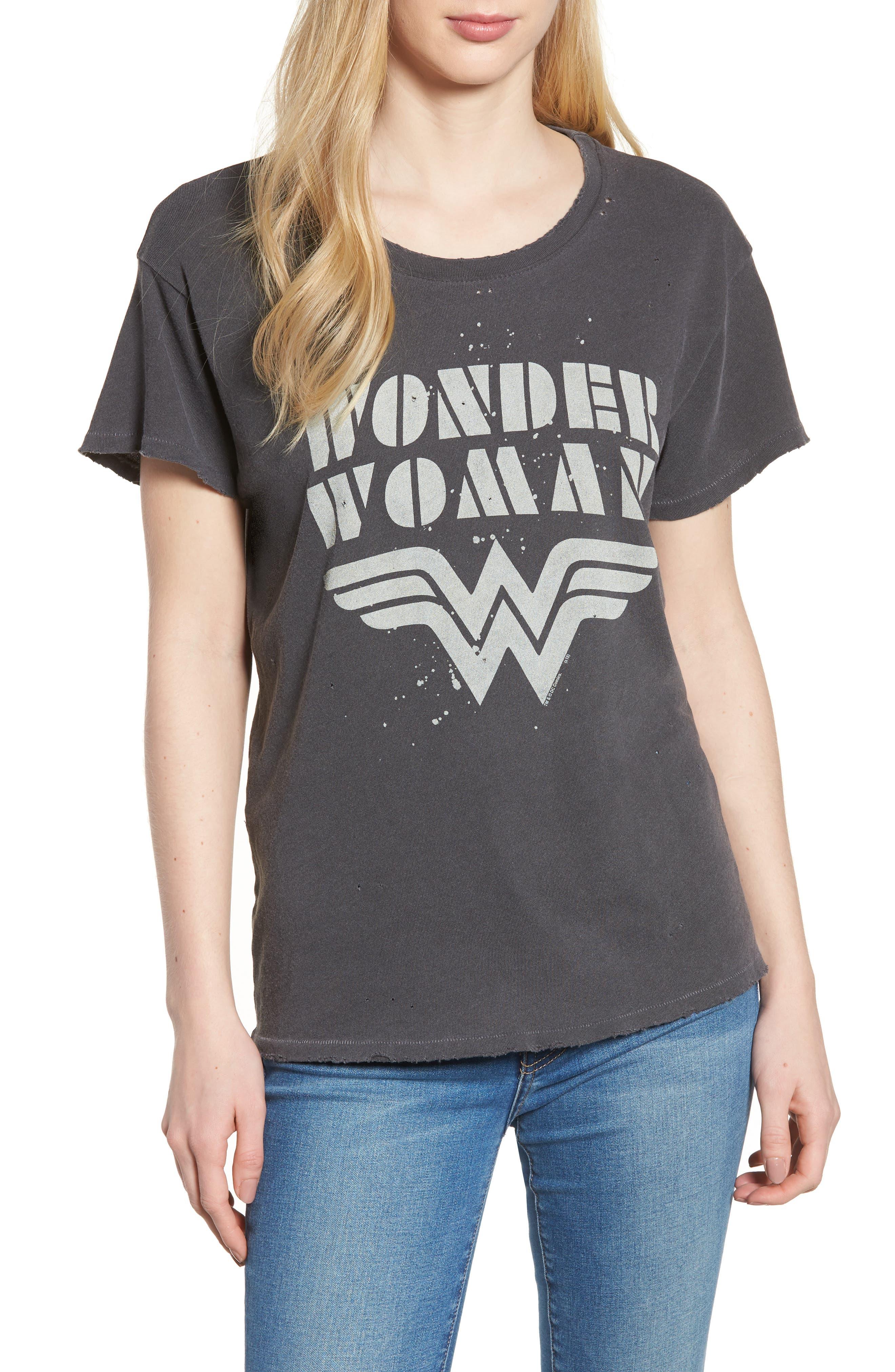 Wonder Woman Tee,                             Main thumbnail 1, color,                             Vintage Black
