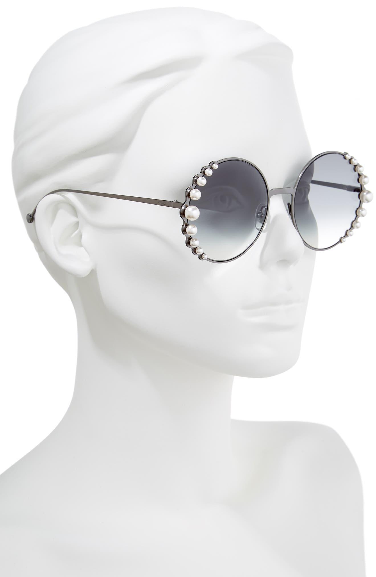 58mm Embellished Round Sunglasses,                             Alternate thumbnail 2, color,                             Dark Ruthenium