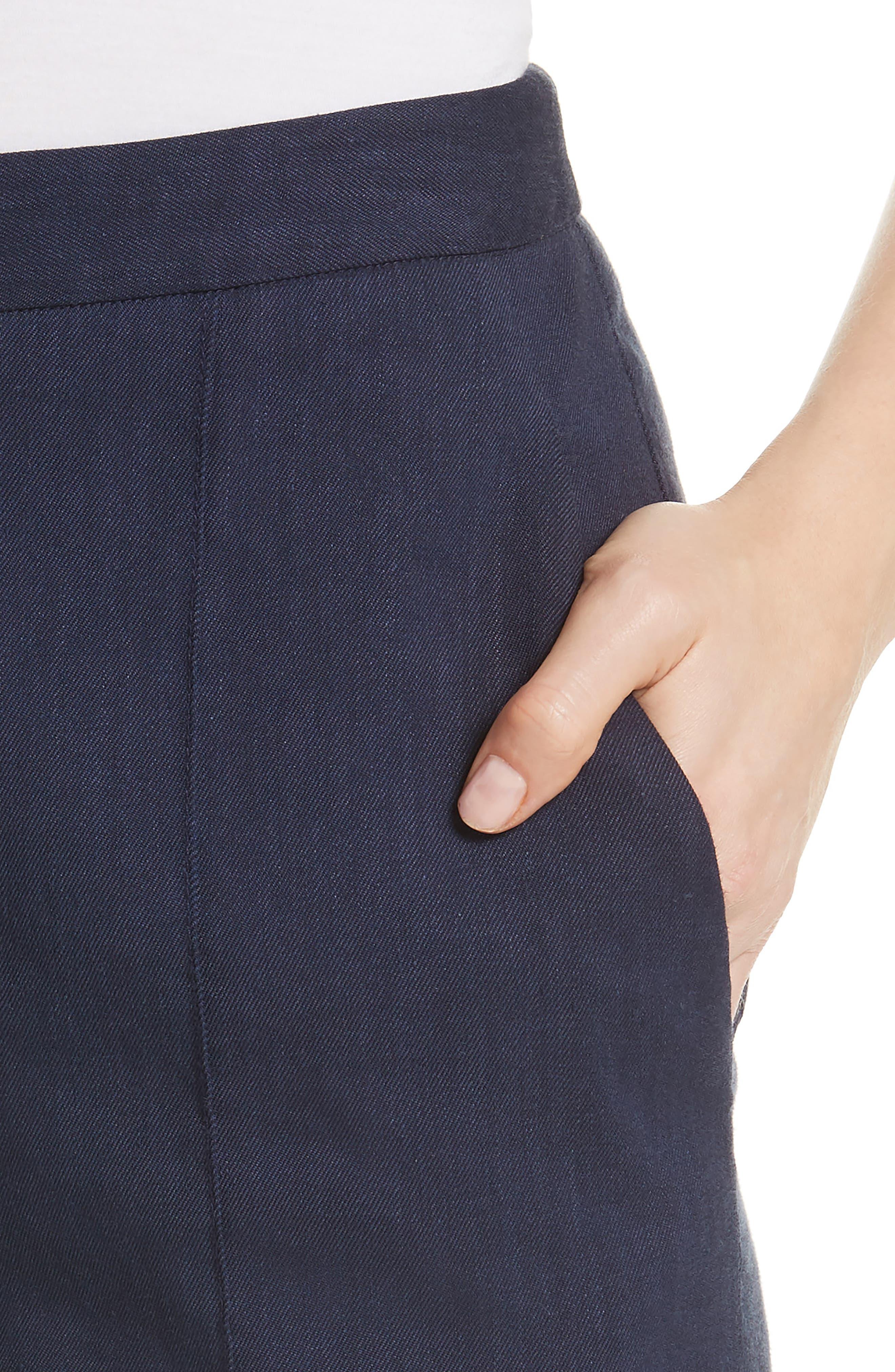 Diane von Furstenberg Pleat Front Flare Stretch Linen Blend Pants,                             Alternate thumbnail 4, color,                             New Navy