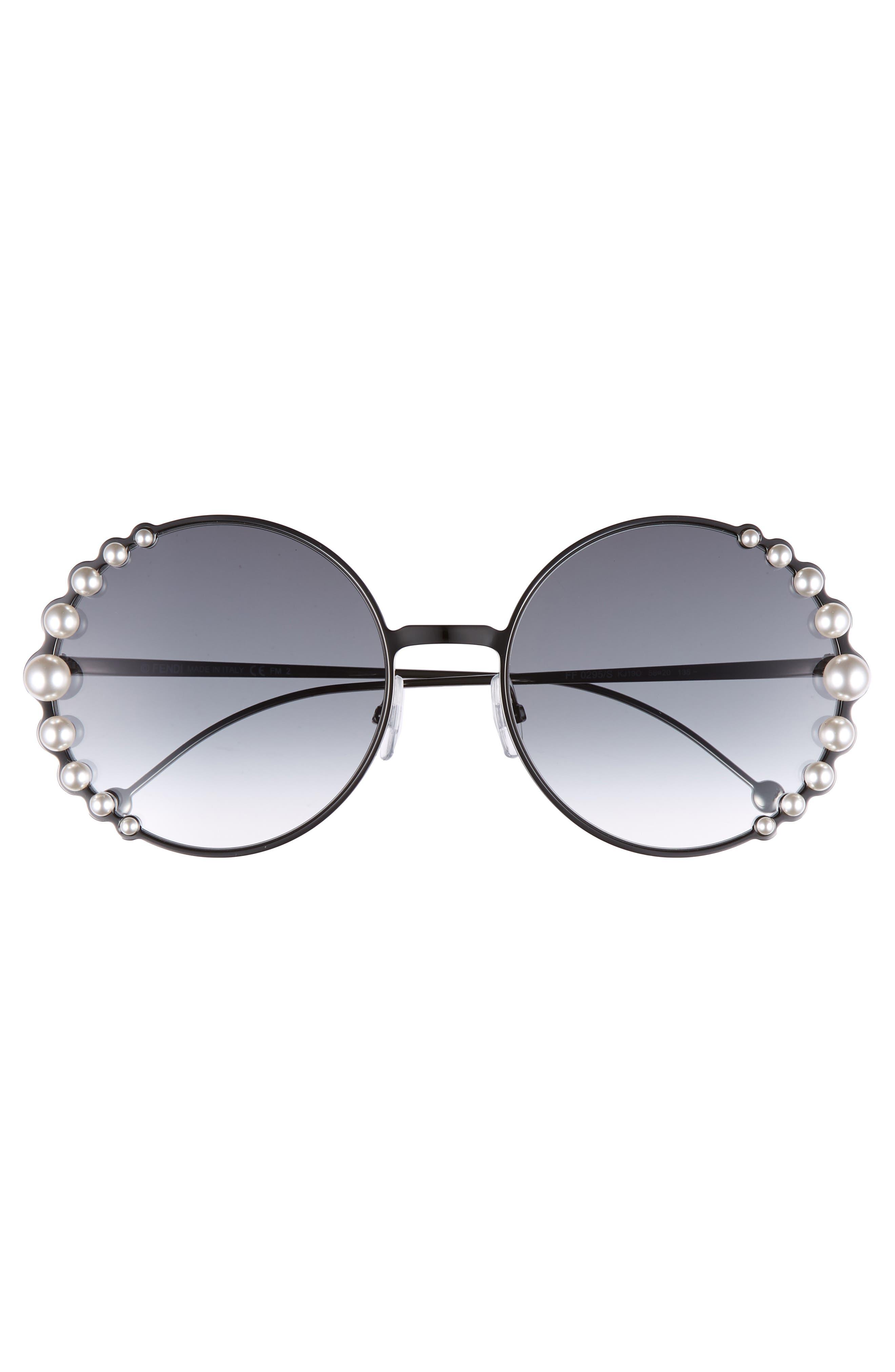 58mm Embellished Round Sunglasses,                             Alternate thumbnail 3, color,                             Dark Ruthenium