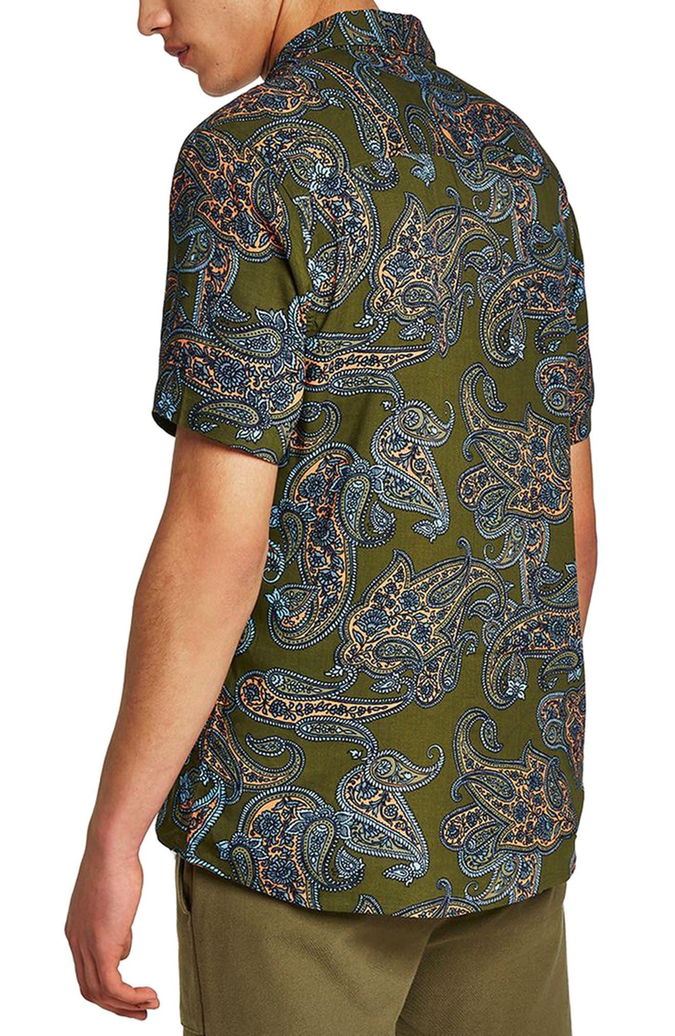 Paisley Print Shirt,                             Alternate thumbnail 2, color,                             Olive Multi