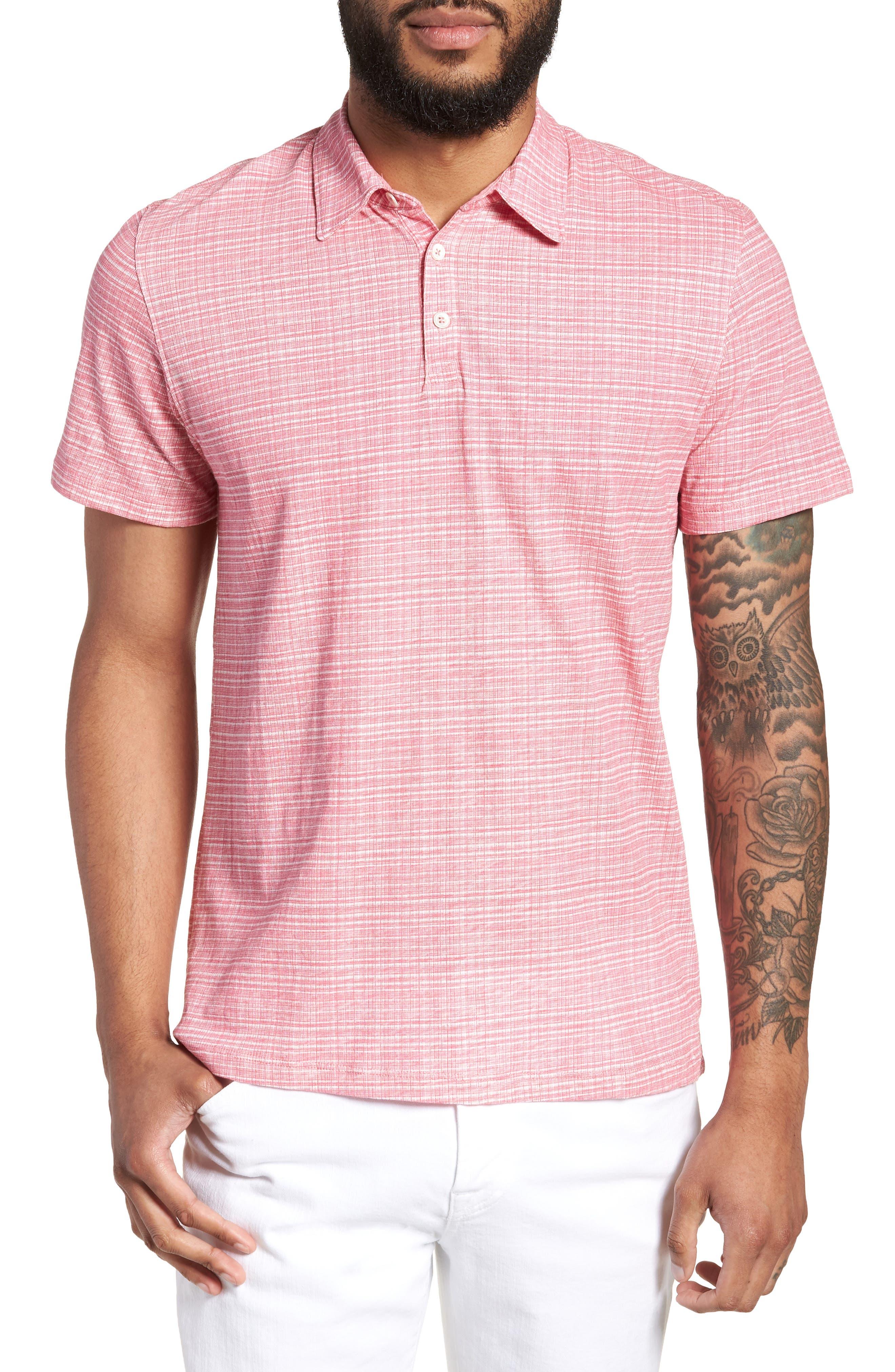 Cedar Regular Fit Grid Print Polo,                         Main,                         color, Pink
