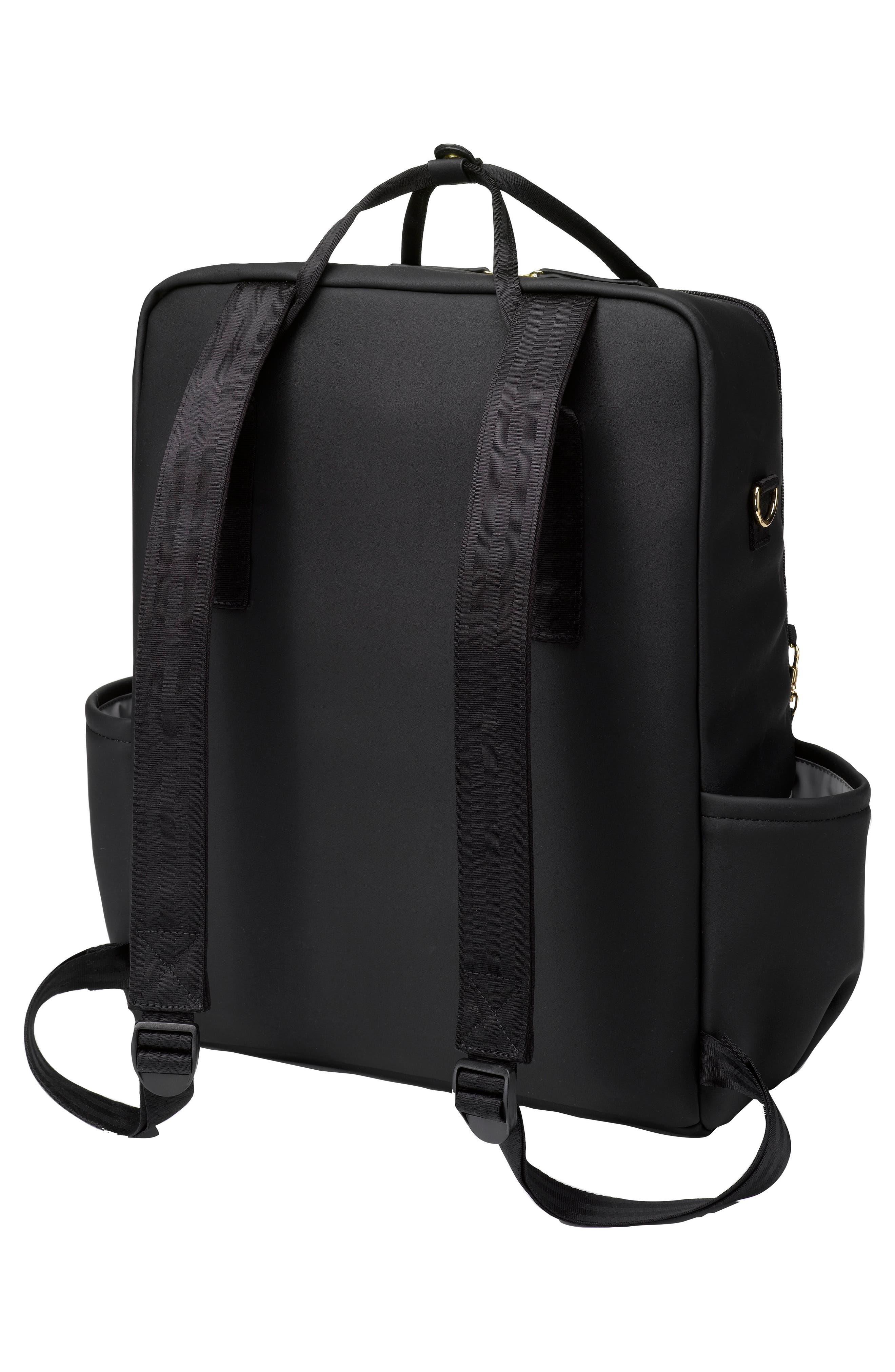 Balance Backpack Diaper Bag,                             Alternate thumbnail 3, color,                             Black Matte Leatherette