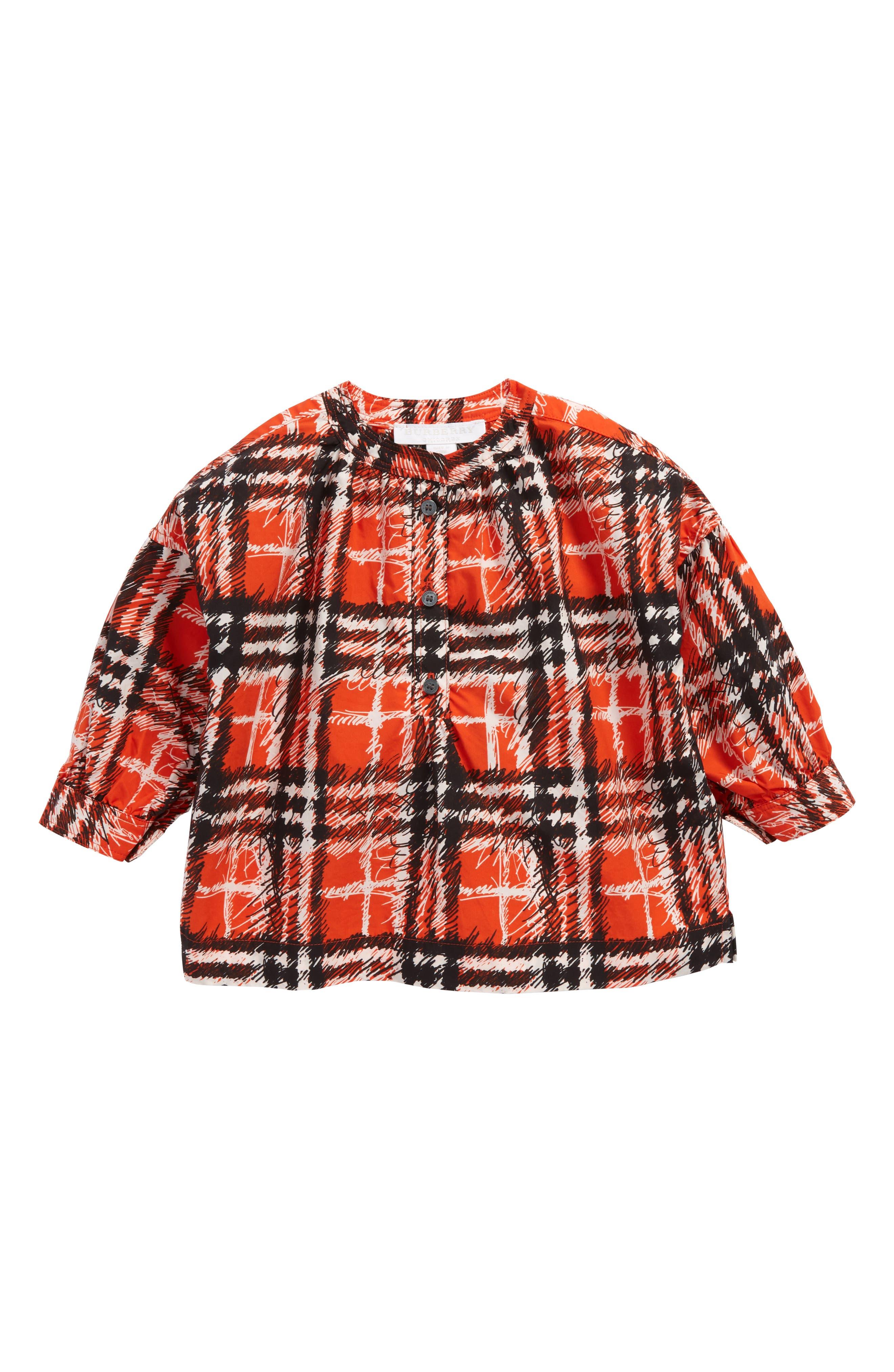 Lola Scribble Check Tunic,                         Main,                         color, Bright Red