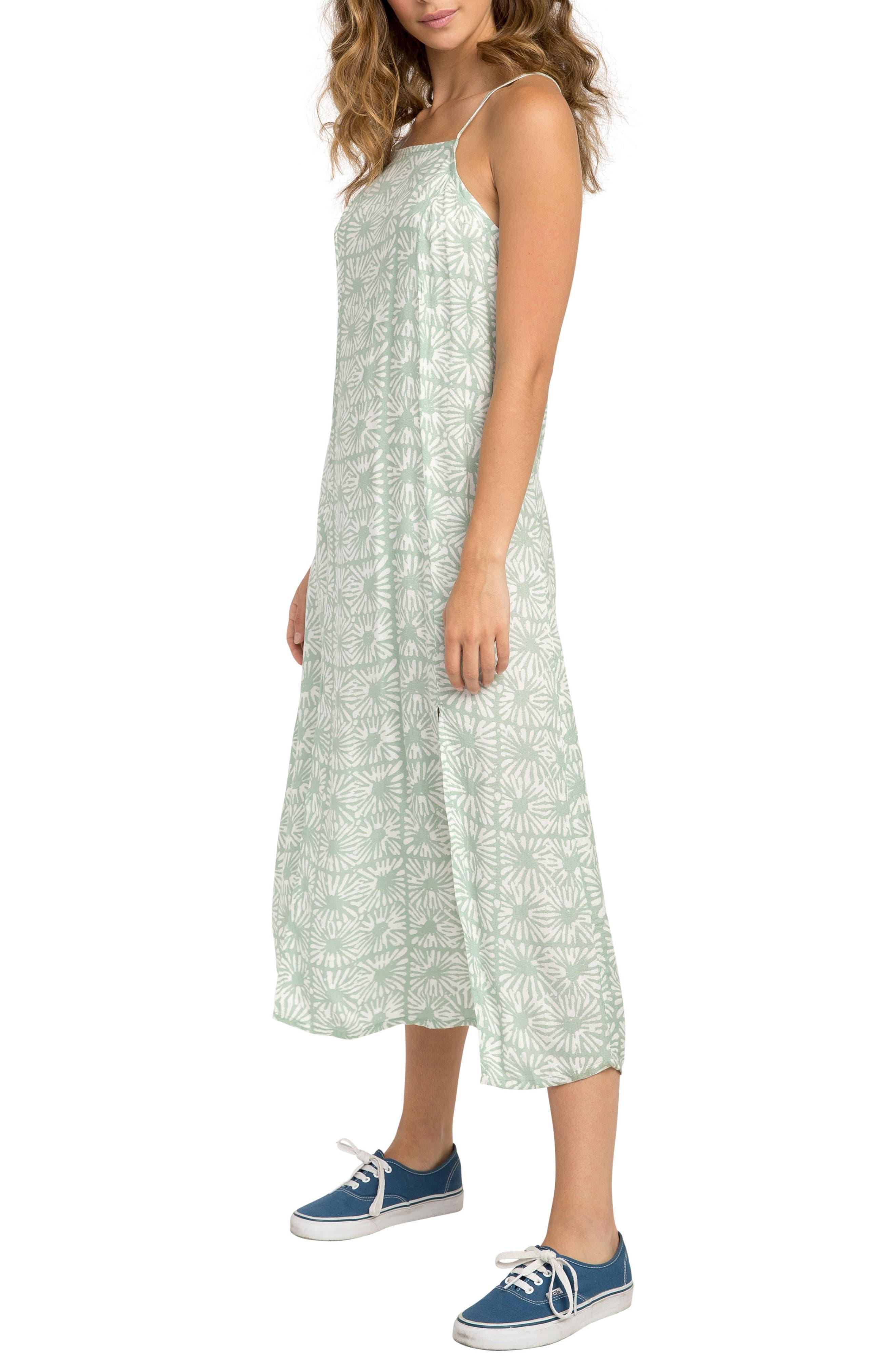 Garland Print Midi Dress,                             Alternate thumbnail 3, color,                             Artichoke